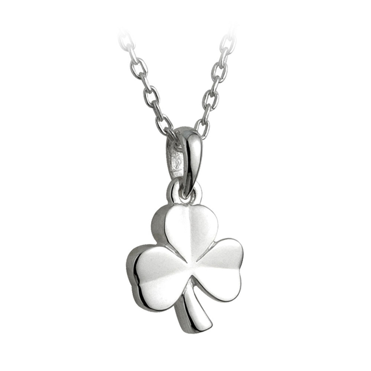 Silver Plated Shamrock Necklace, 16 Inch Chain