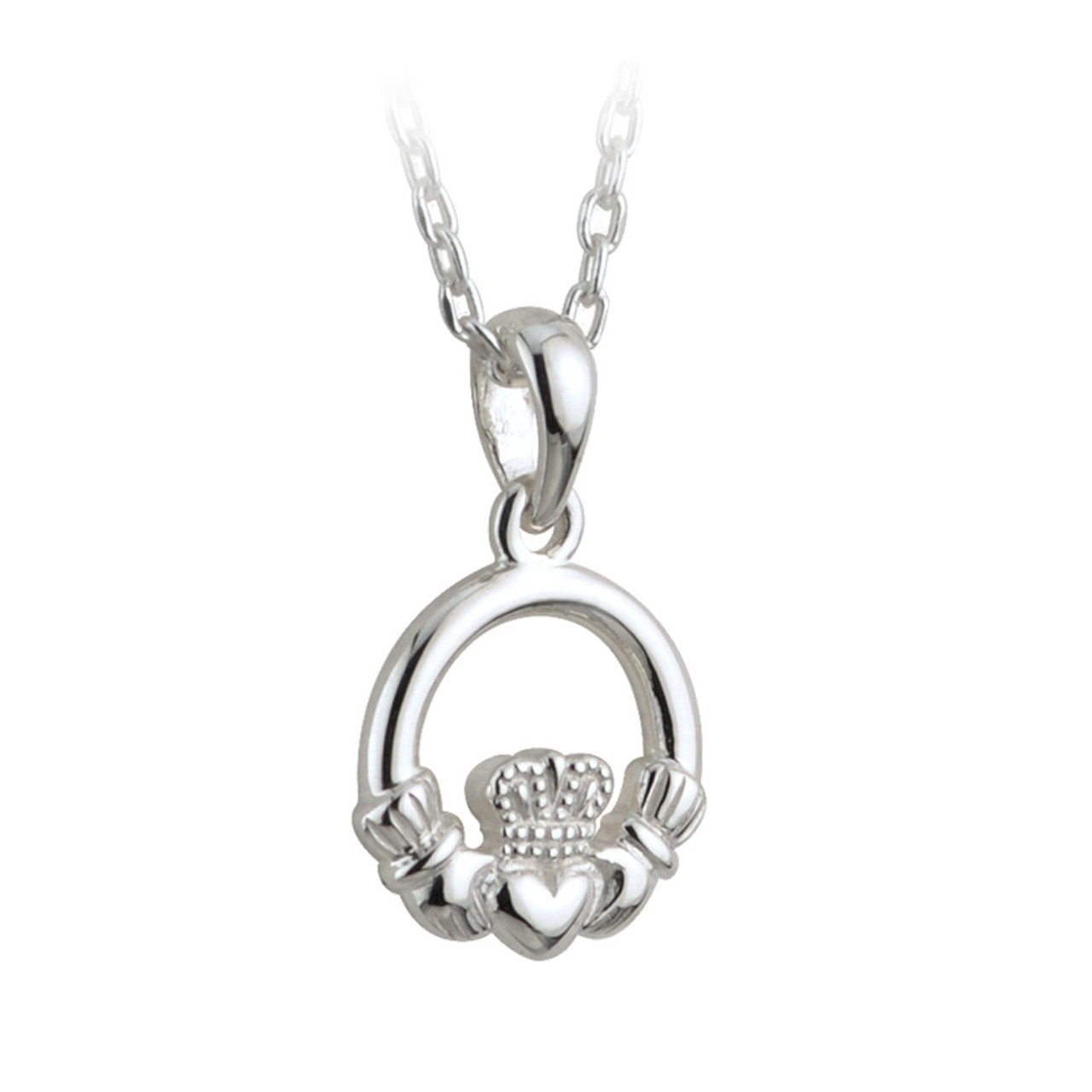 Sterling Silver Claddagh Necklace, 16 Inch Chain