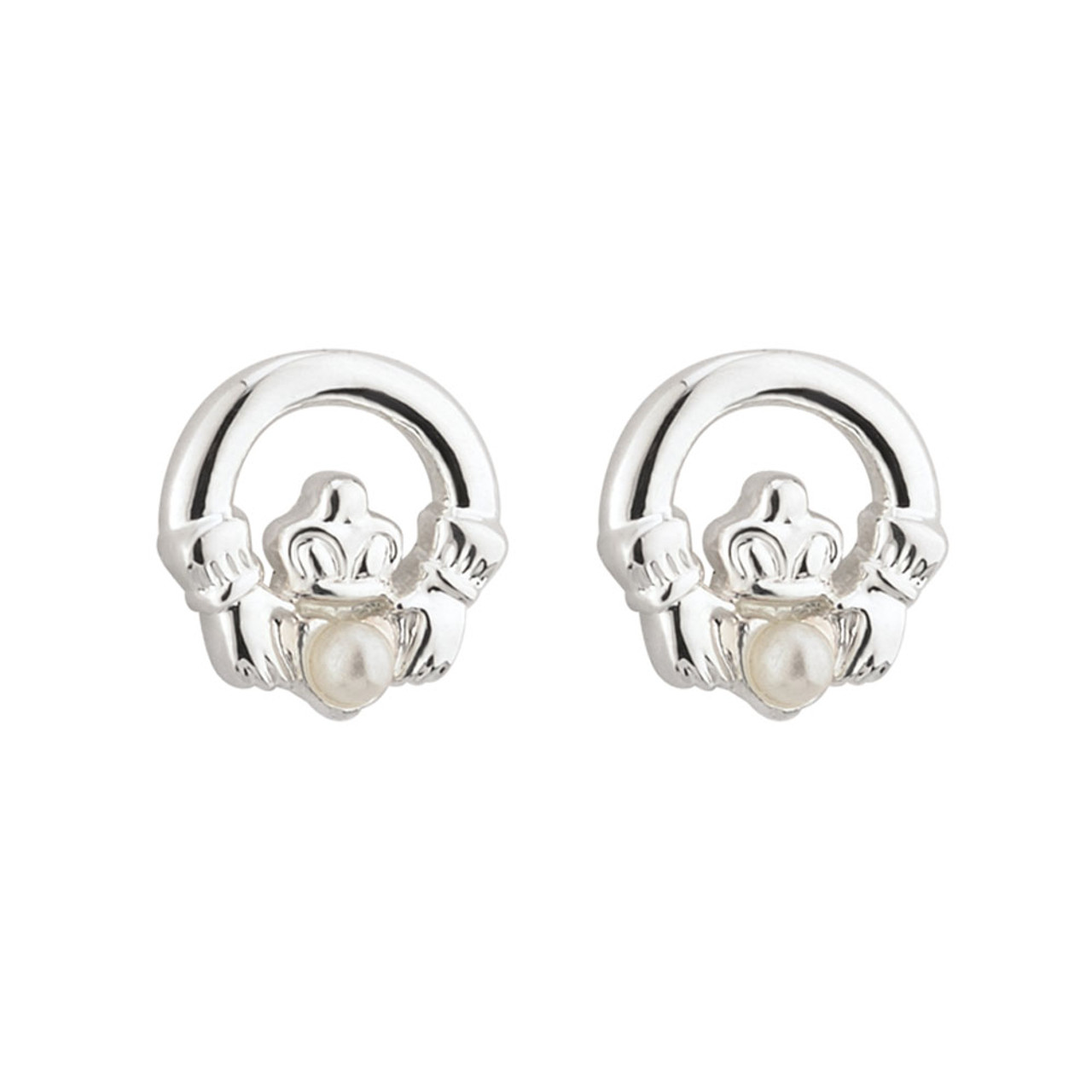 Child's Claddagh Earrings in Silverplate
