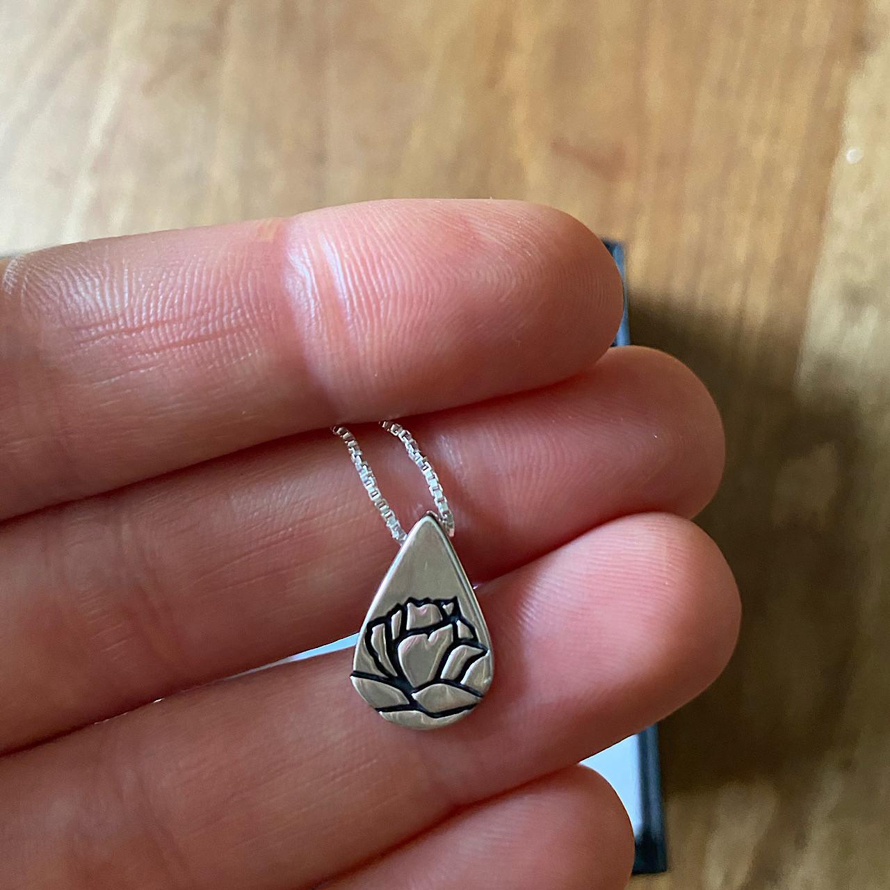 Sterling Silver Teardrop Memorial Tear Necklace
