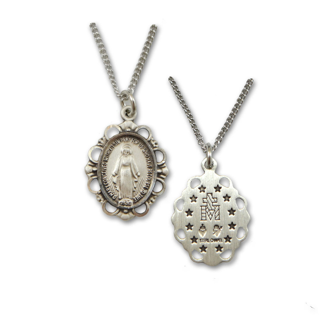 Sterling Miraculous Medal 18IN Chain
