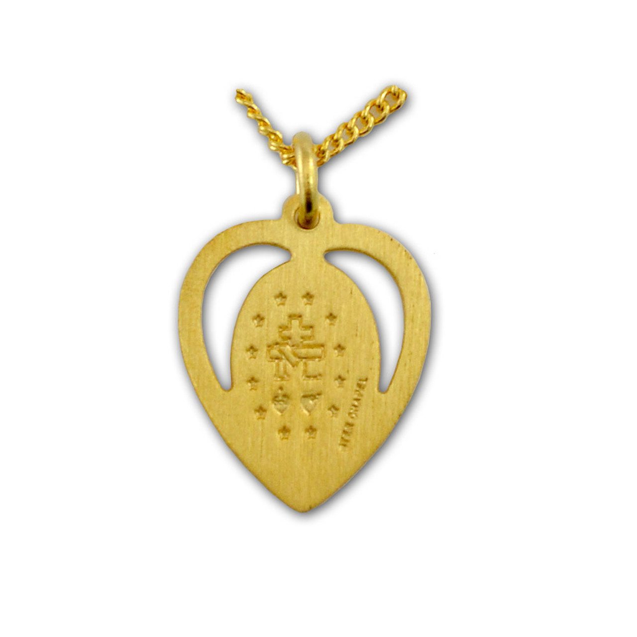Gold Miraculous Medal in Heart Necklace