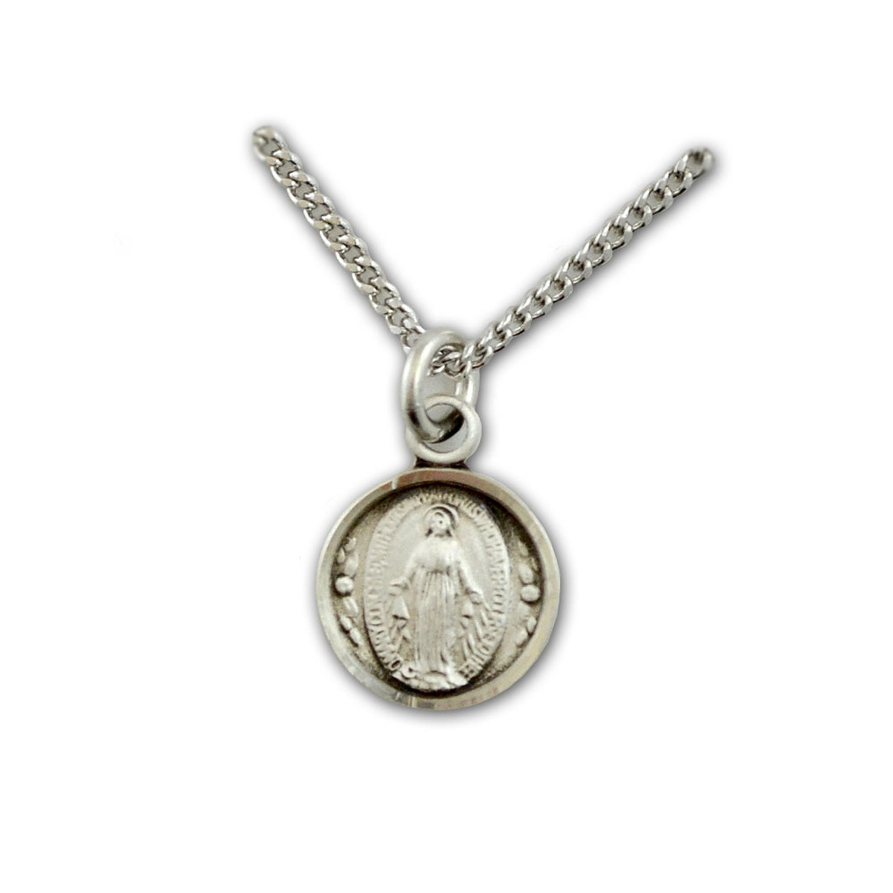 SS Miraculous Medal Necklace, 16 IN Chain