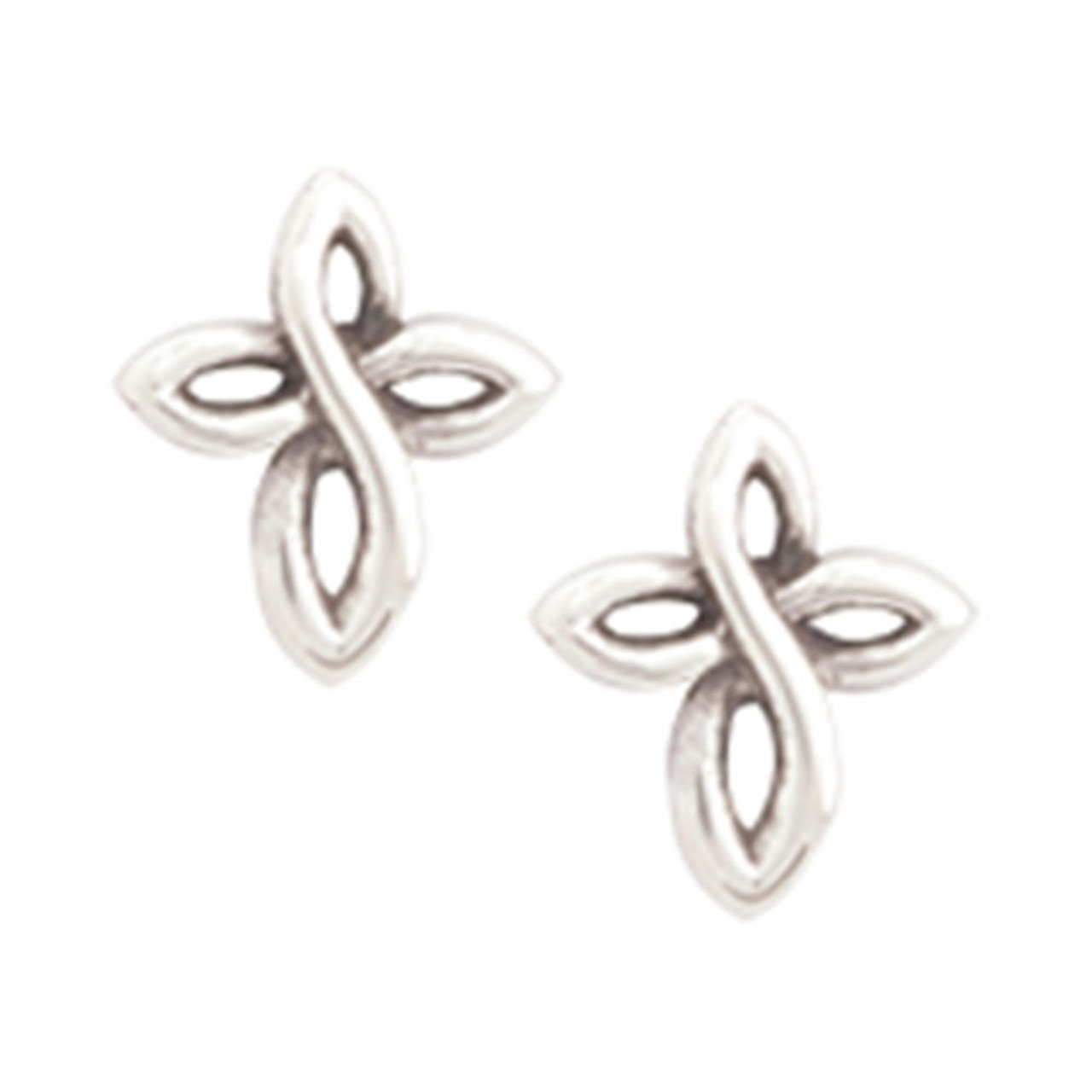 Cross Earrings, Twist Design, Rhodium (silver color) Plated