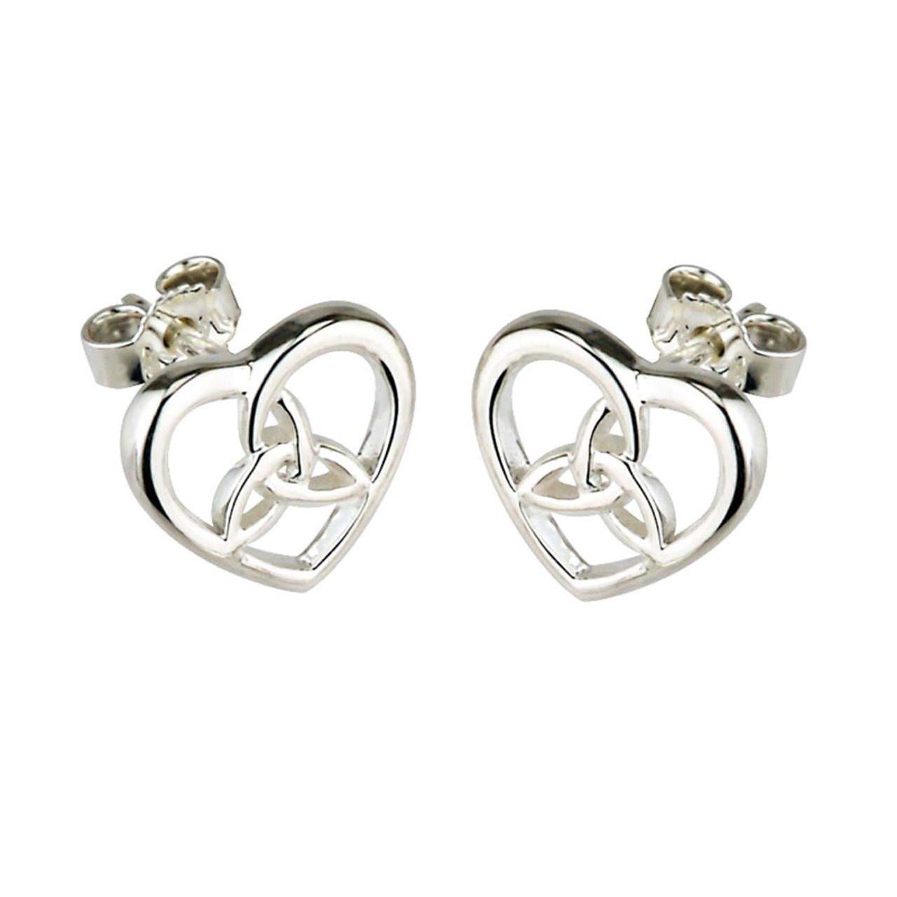 Sterling Silver Trinity Knot Heart Earrings