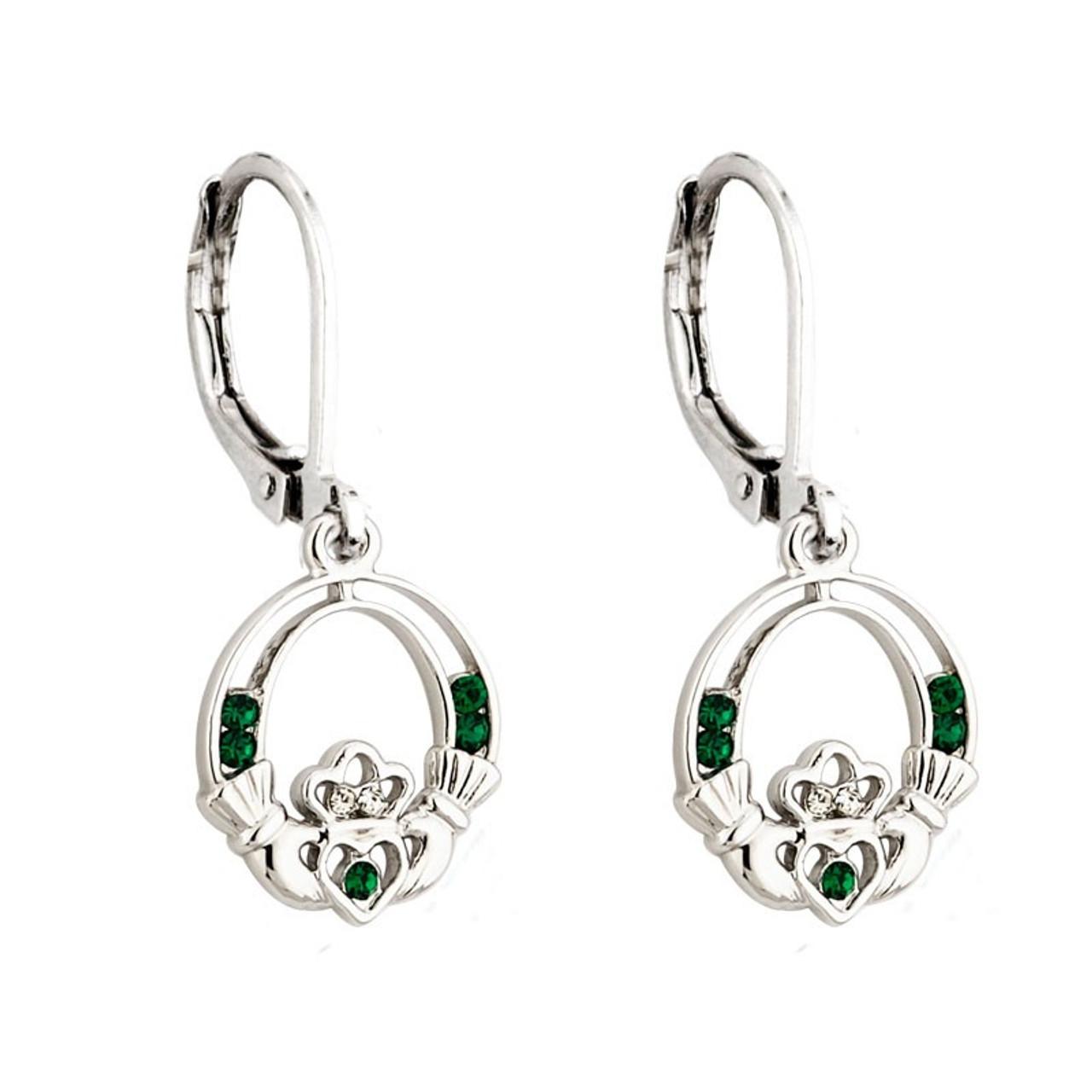 Rhodium Plated Crystal Claddagh Earrings