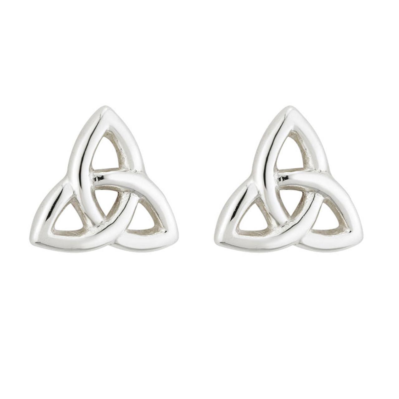 Sterling Silver Trinity Knot Earrings-1