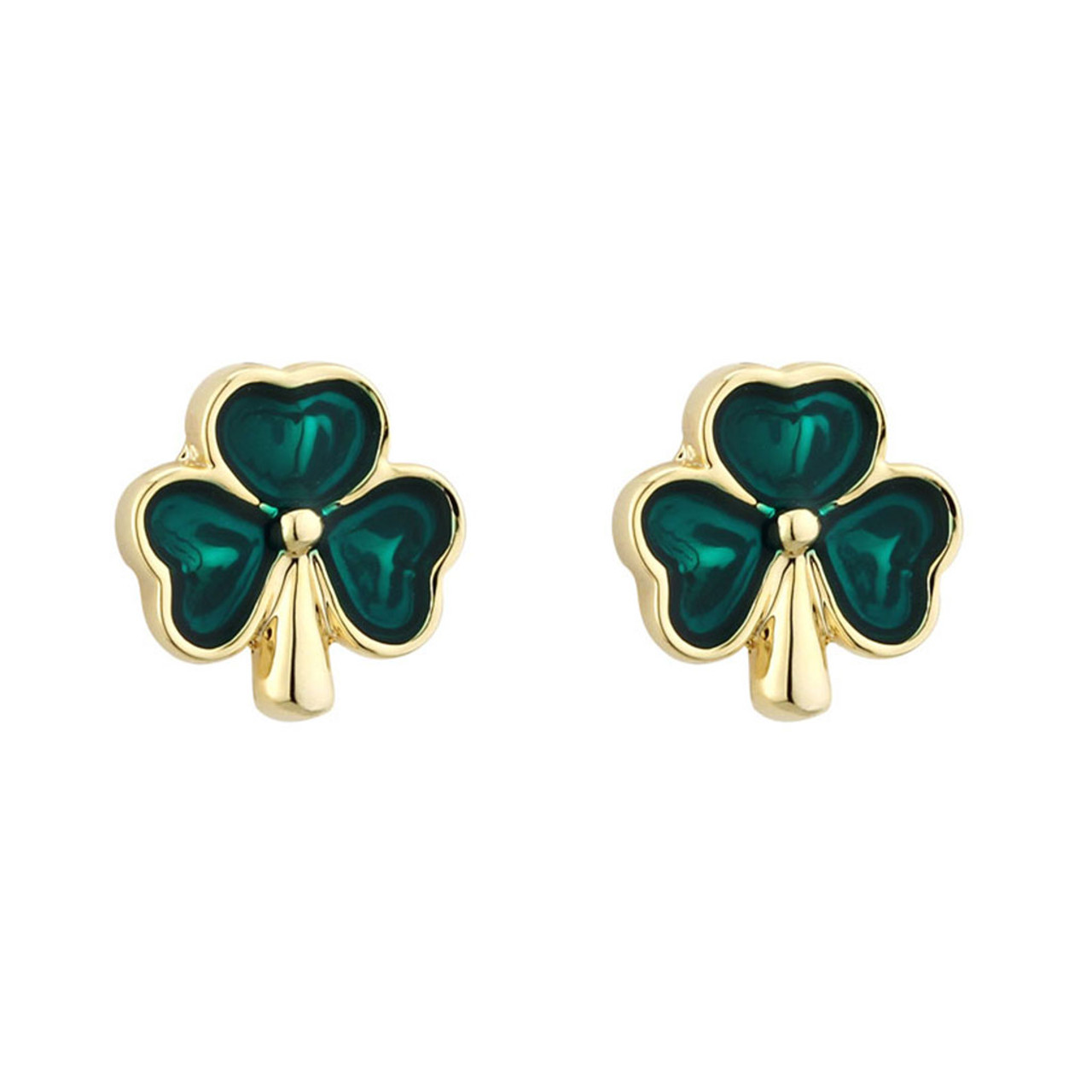 18 kt Gold Plated Shamrock Stud Earrings