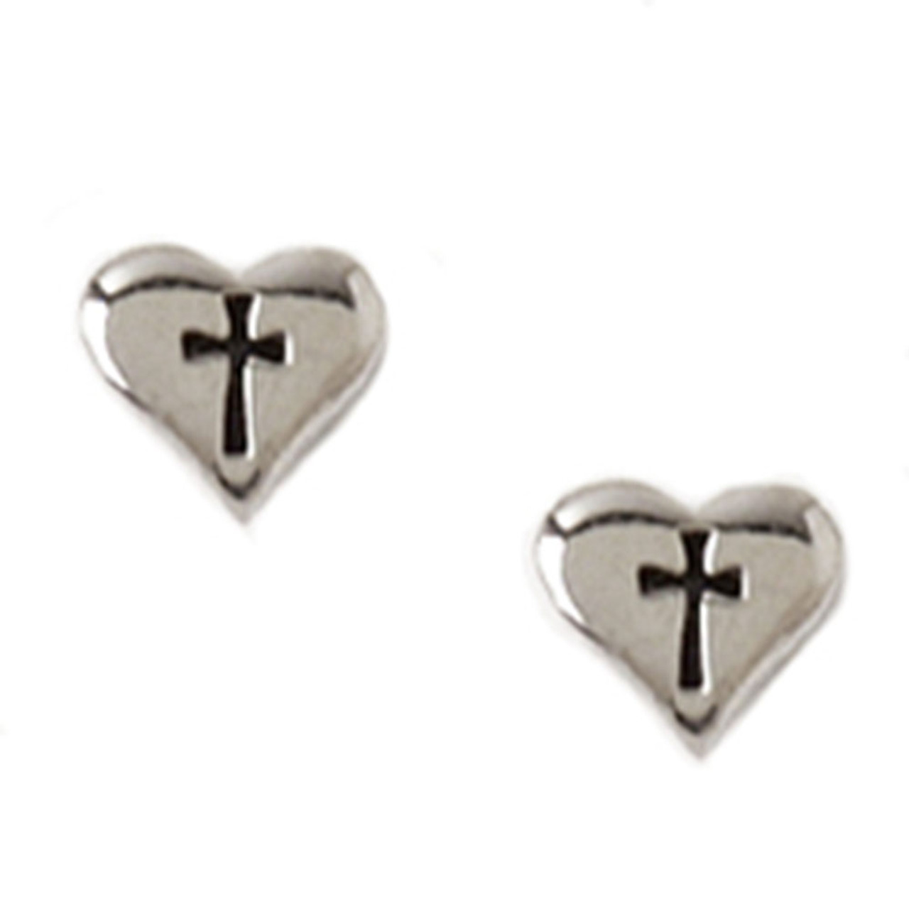Heart with Cross Earrings, Rhodium Plated