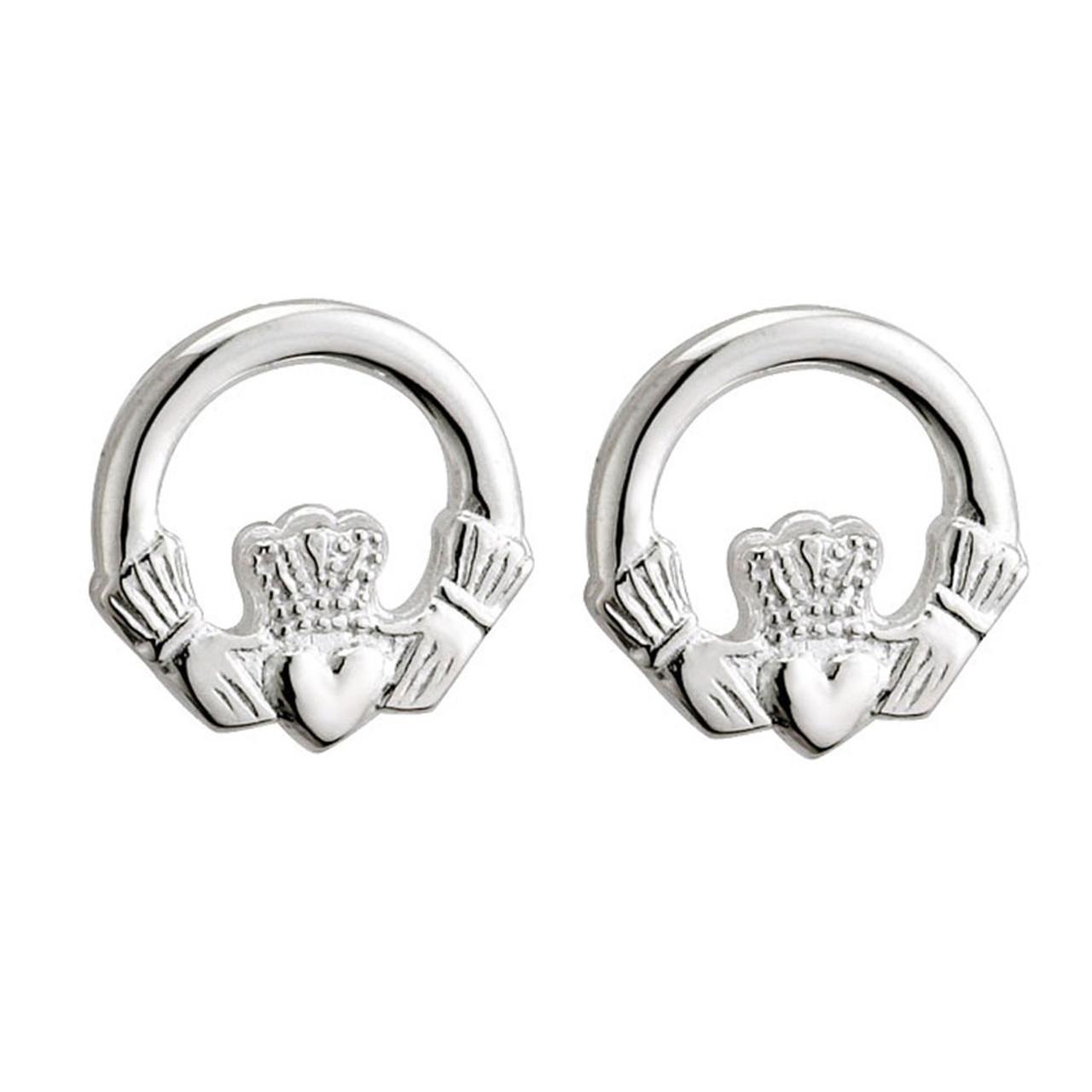 Sterling Silver Claddagh Stud Earrings