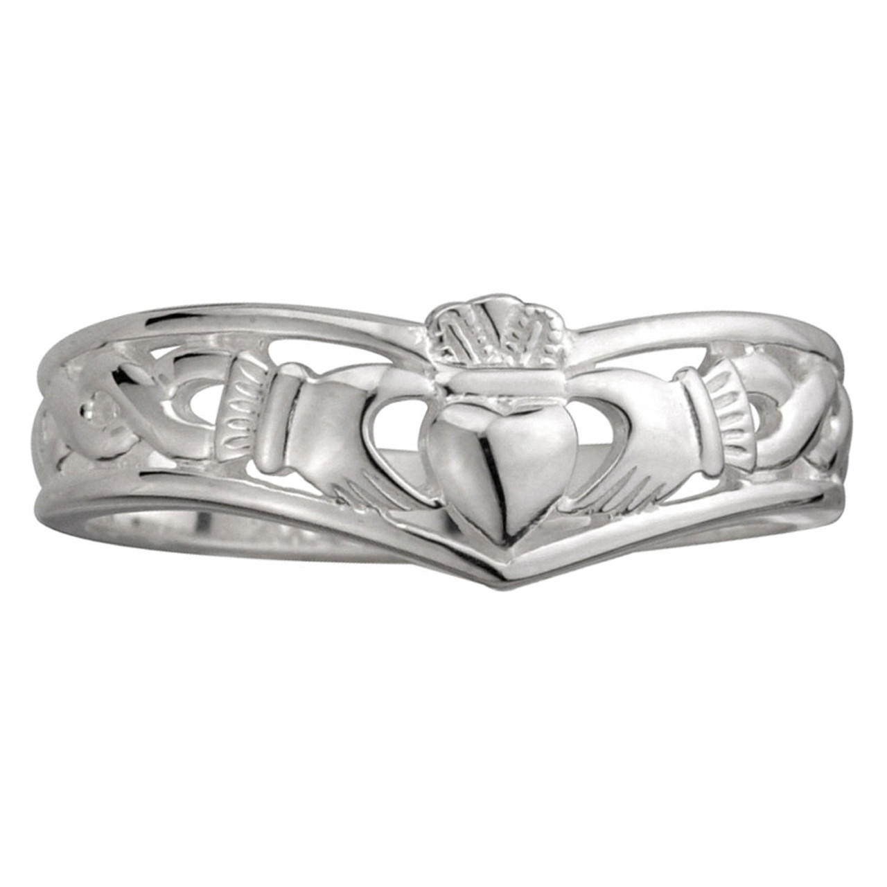 Sterling Silver Claddagh Wishbone Ring