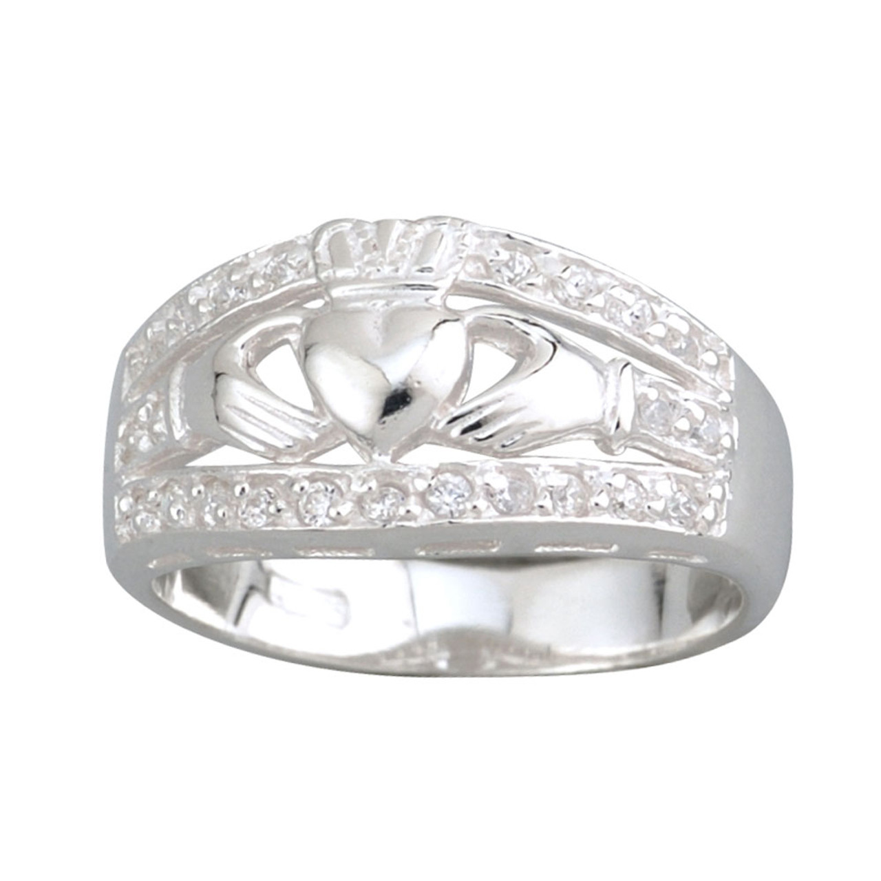 Claddagh Ring with Cubic Zirconia on Wide Band