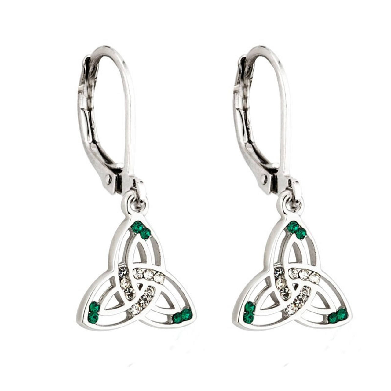 Trinity Knot Earrings with Green Stone