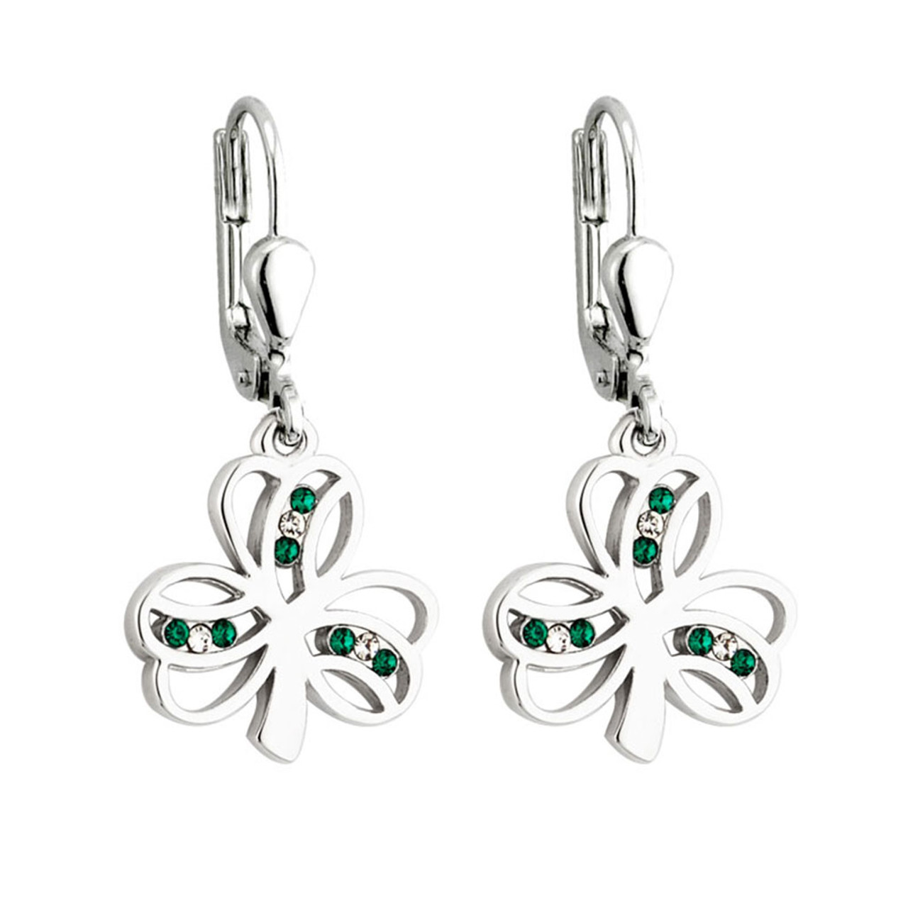 Shamrock earrings Rhodium