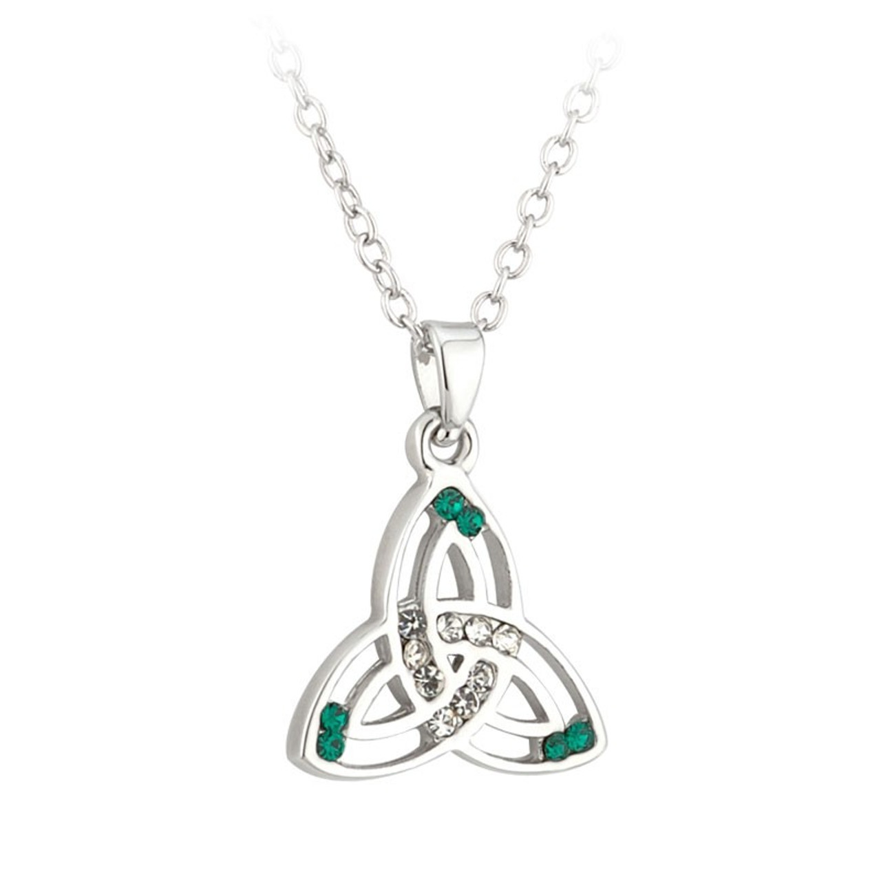 Rhodium Plated Trinity Knot Pendant with Green Stone