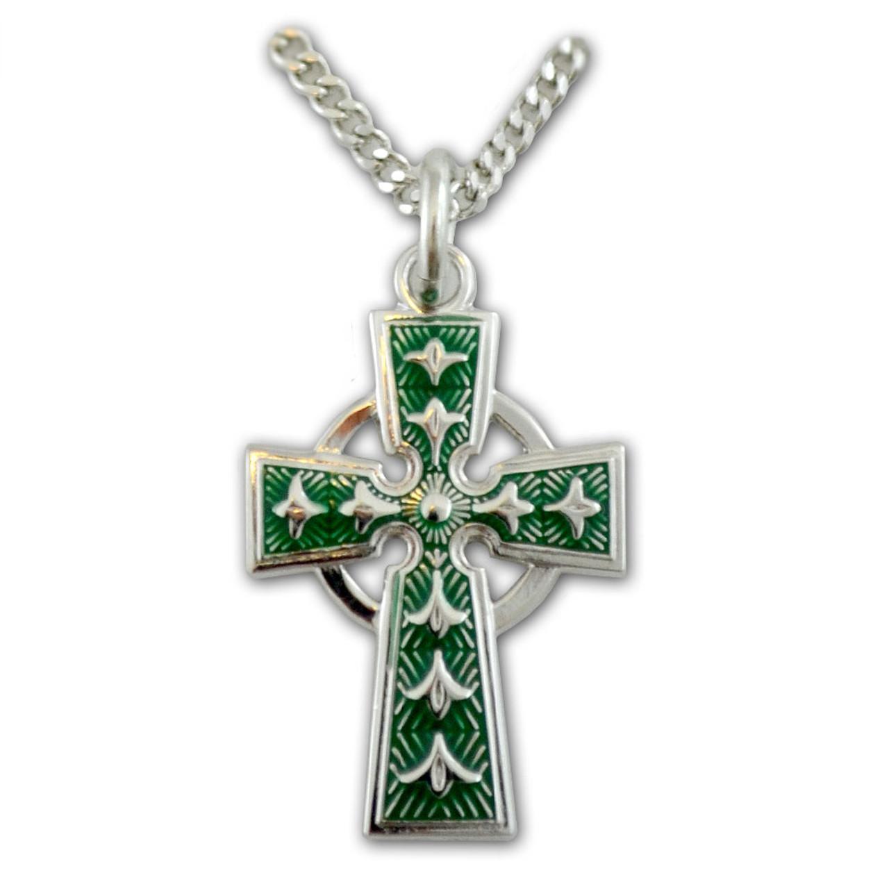 Necklace Celtic Cross w/Enamel Detail 18 IN Chain