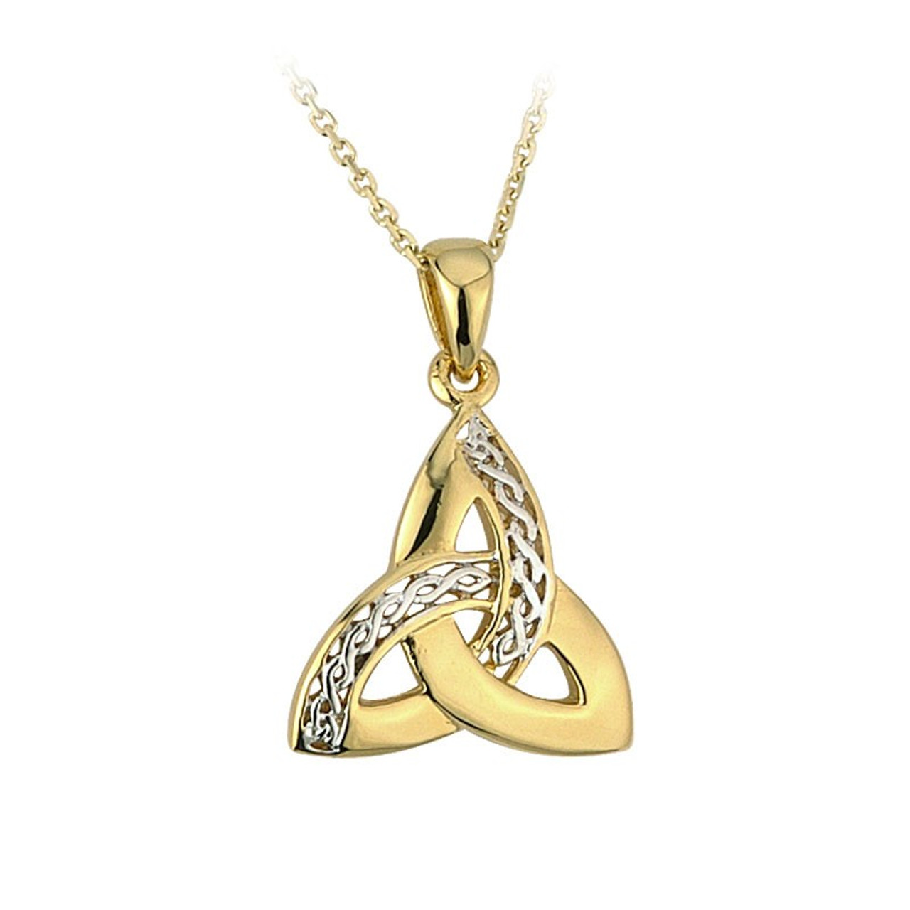 Silver and Gold Two Tone Celtic Trinity Knot Necklace