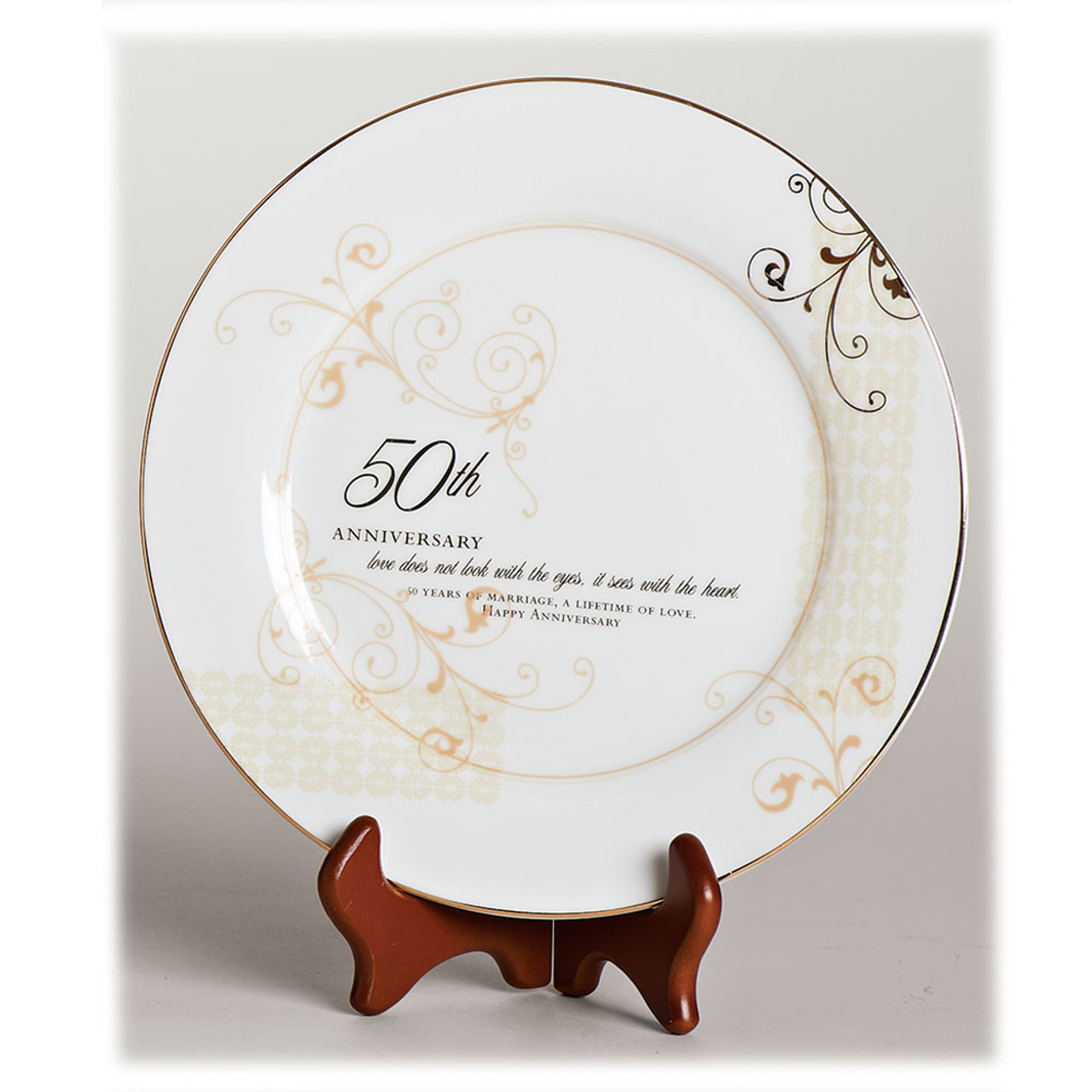 """9"""" 50th Anniversary Plate with Stand"""