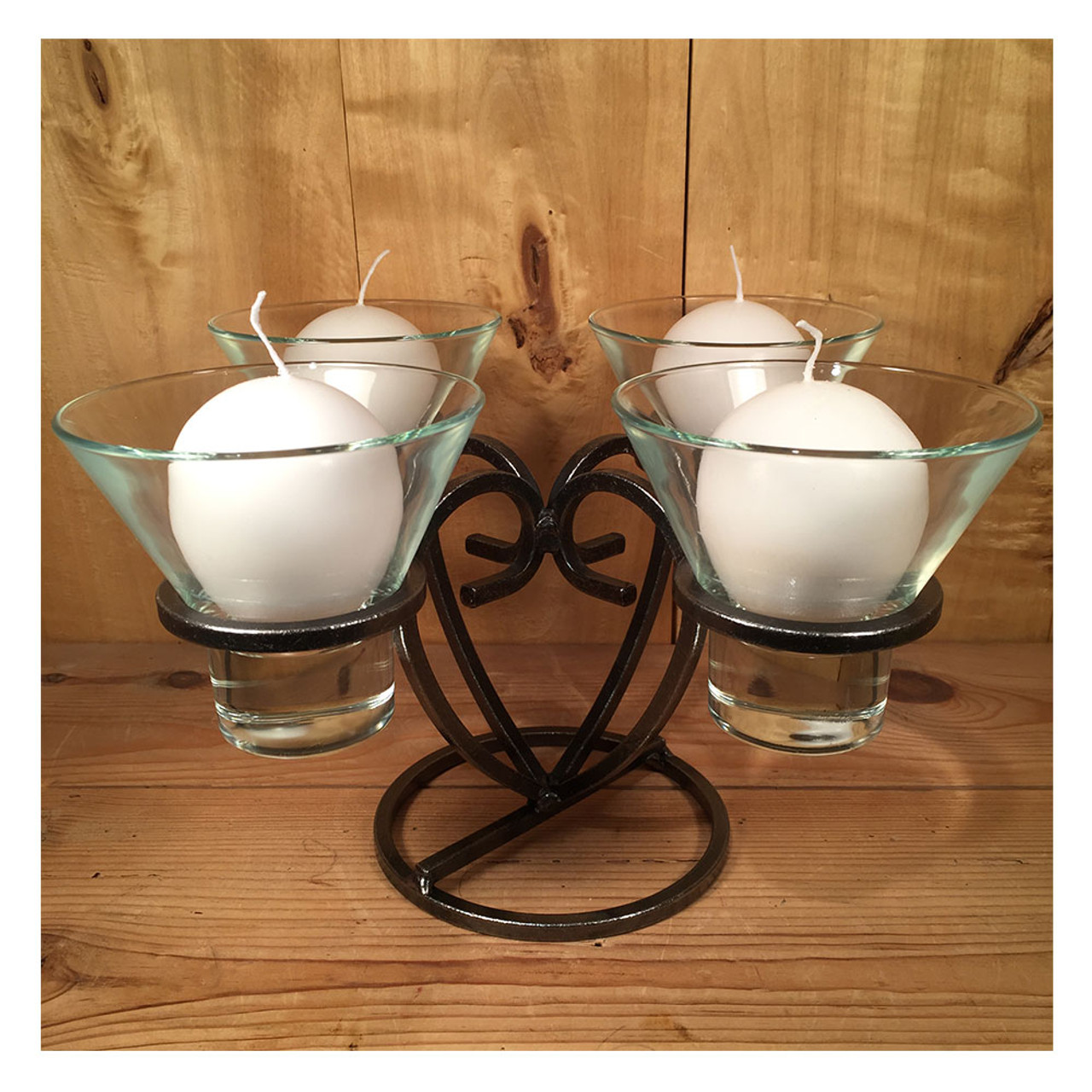 Danish Iron Candle Holder/Advent Wreath w/Glass Cups