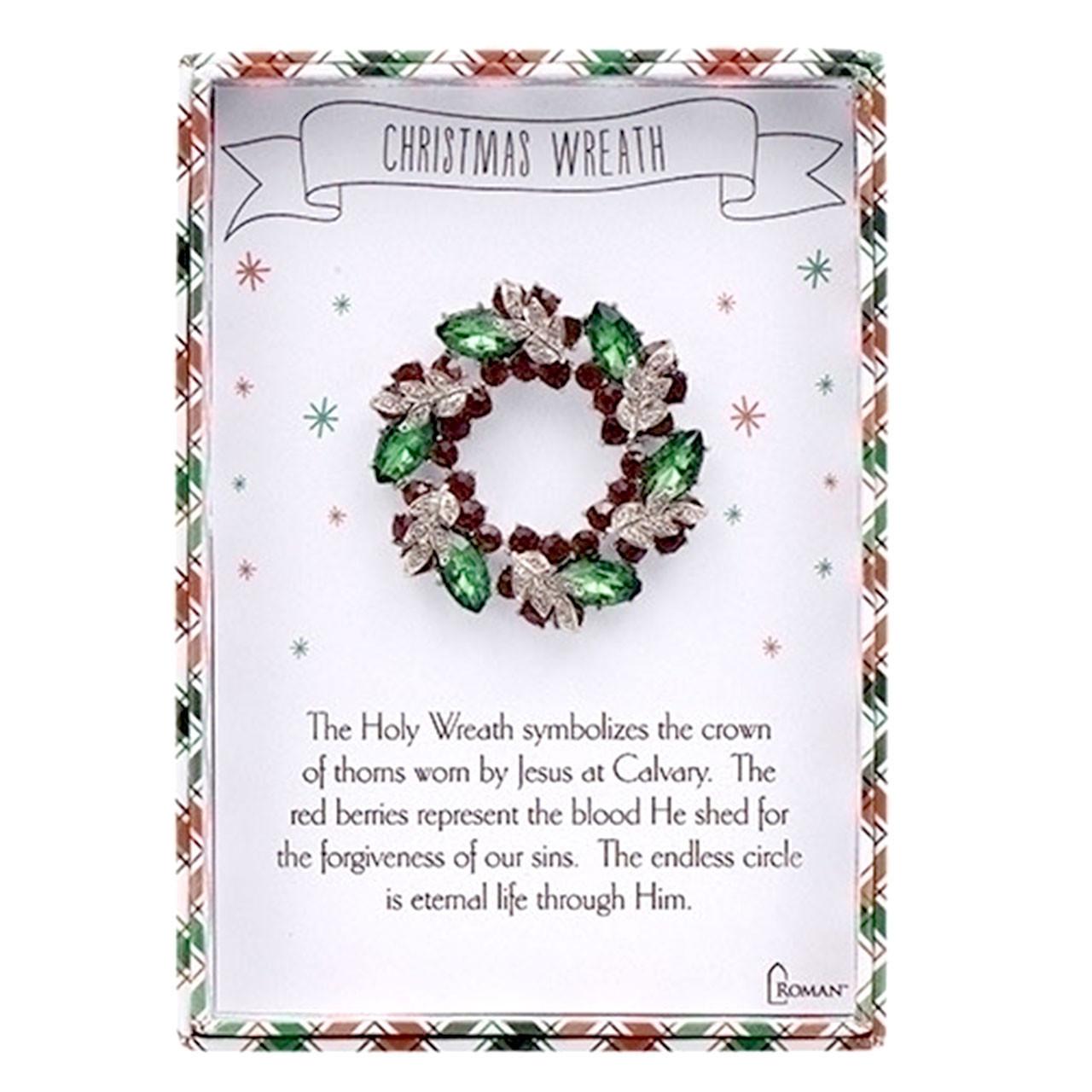 Christmas Wreath Story Jewelry Pin