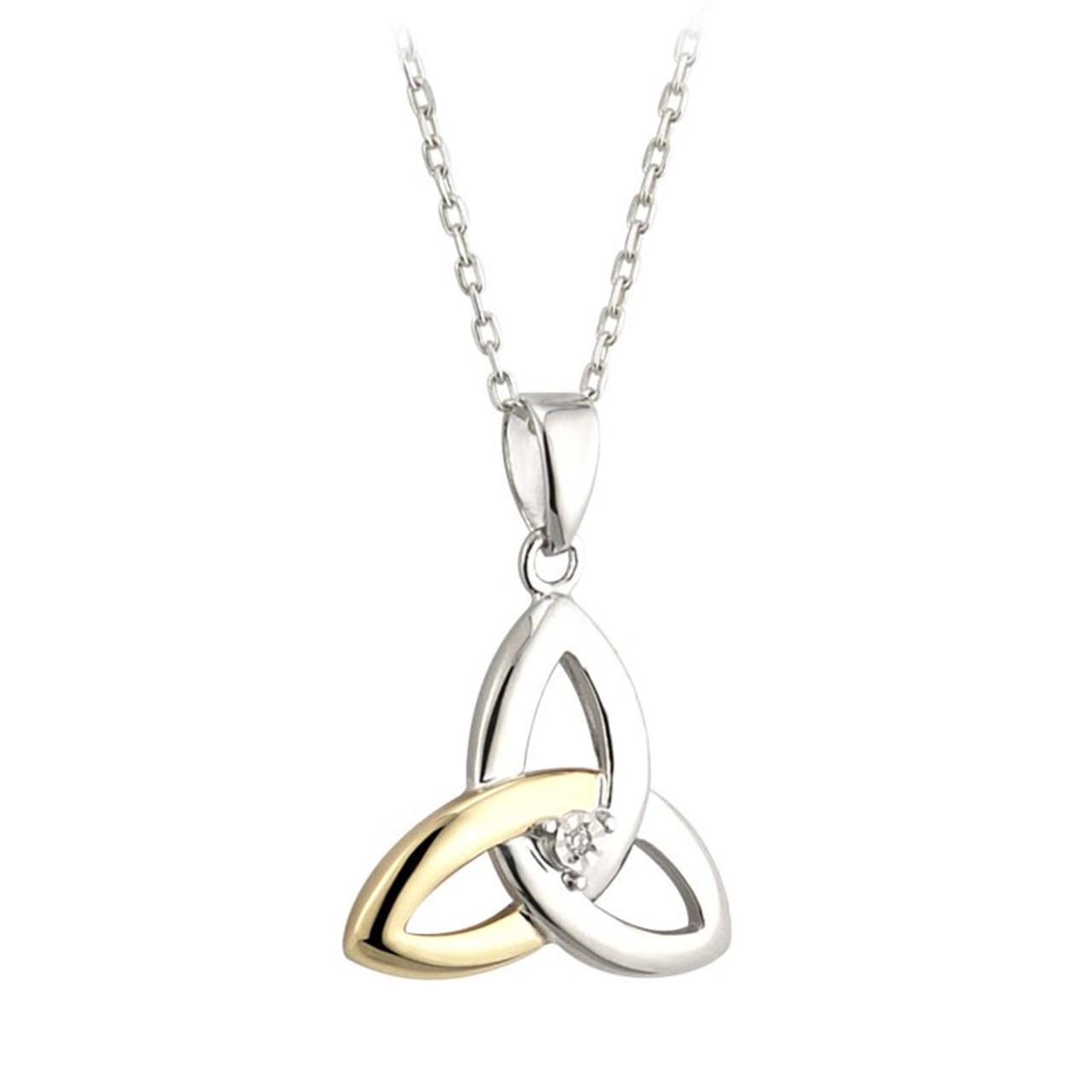 Gold, Silver, Diamond Trinity Knot Pendant