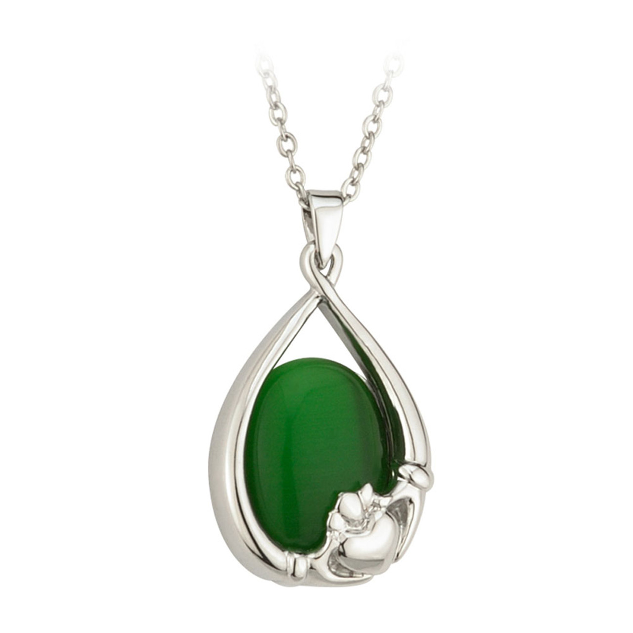 """Rhodium Plated Claddagh Pendant with Green Stone on 18"""" Chain"""