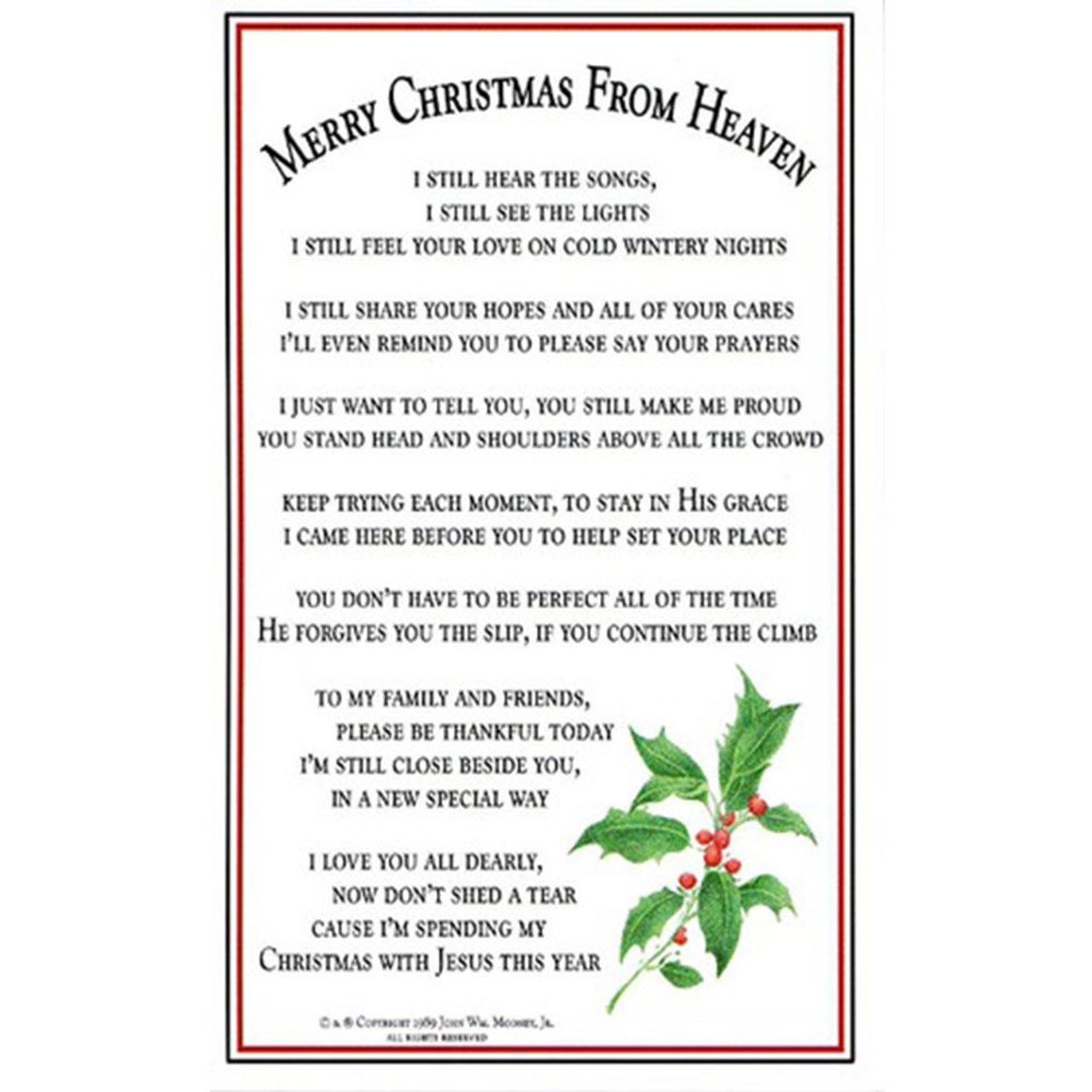 Merry Christmas from Heaven Memorial Bookmark
