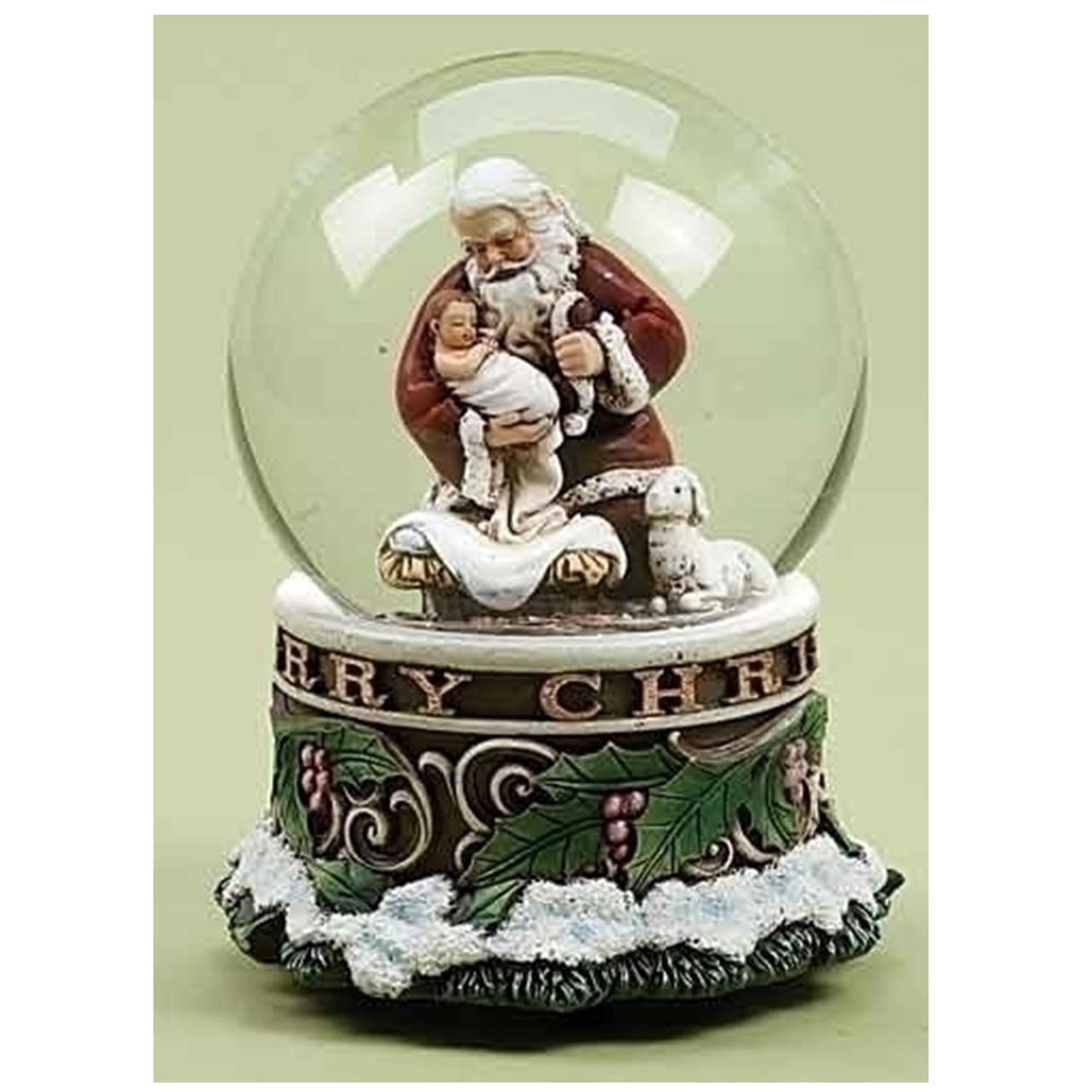 Musical Kneeling Santa Glitterdome