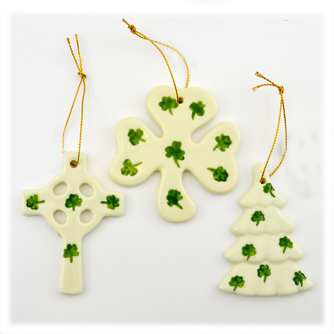 3 Styles of ceramic Irish Ornaments: Celtic cross, Shamrock, and Christmas tree each sold separately