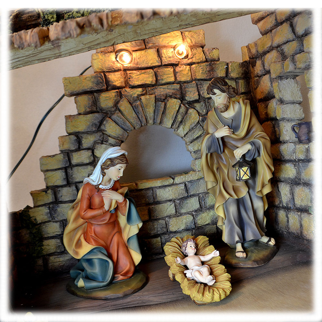 """12"""" Classico Holy Family with Stable"""