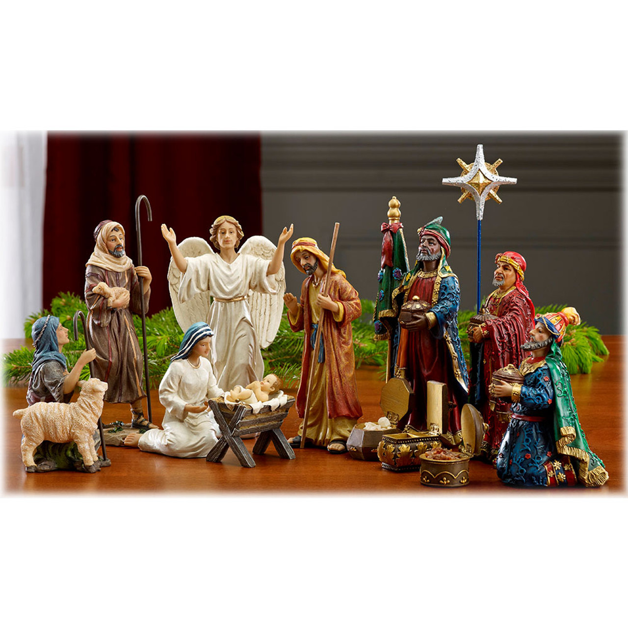 Nativity Set 11PC w/Frankincense, Gold and Myrrh