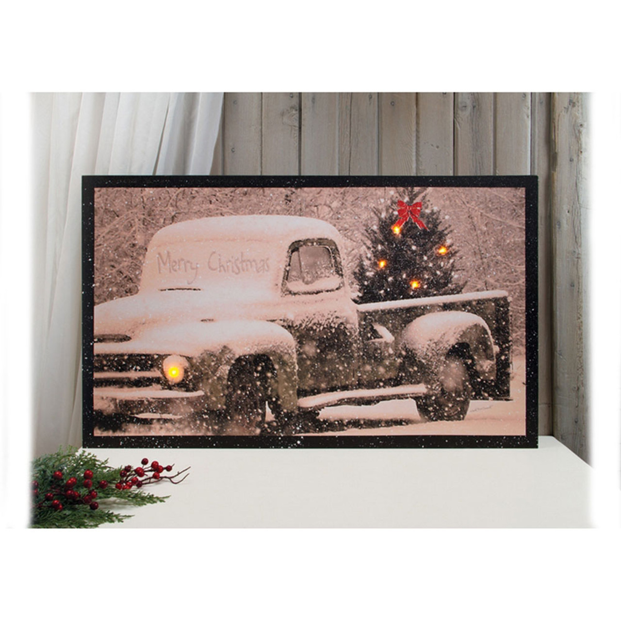 Lighted Merry Christmas Wall Canvas