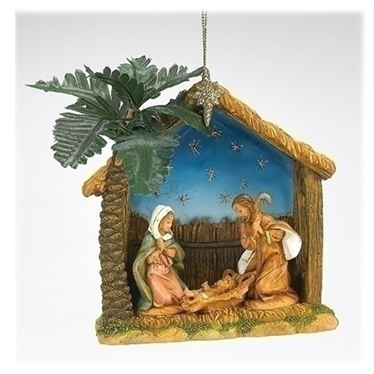 Holy Family Ornament with Stable