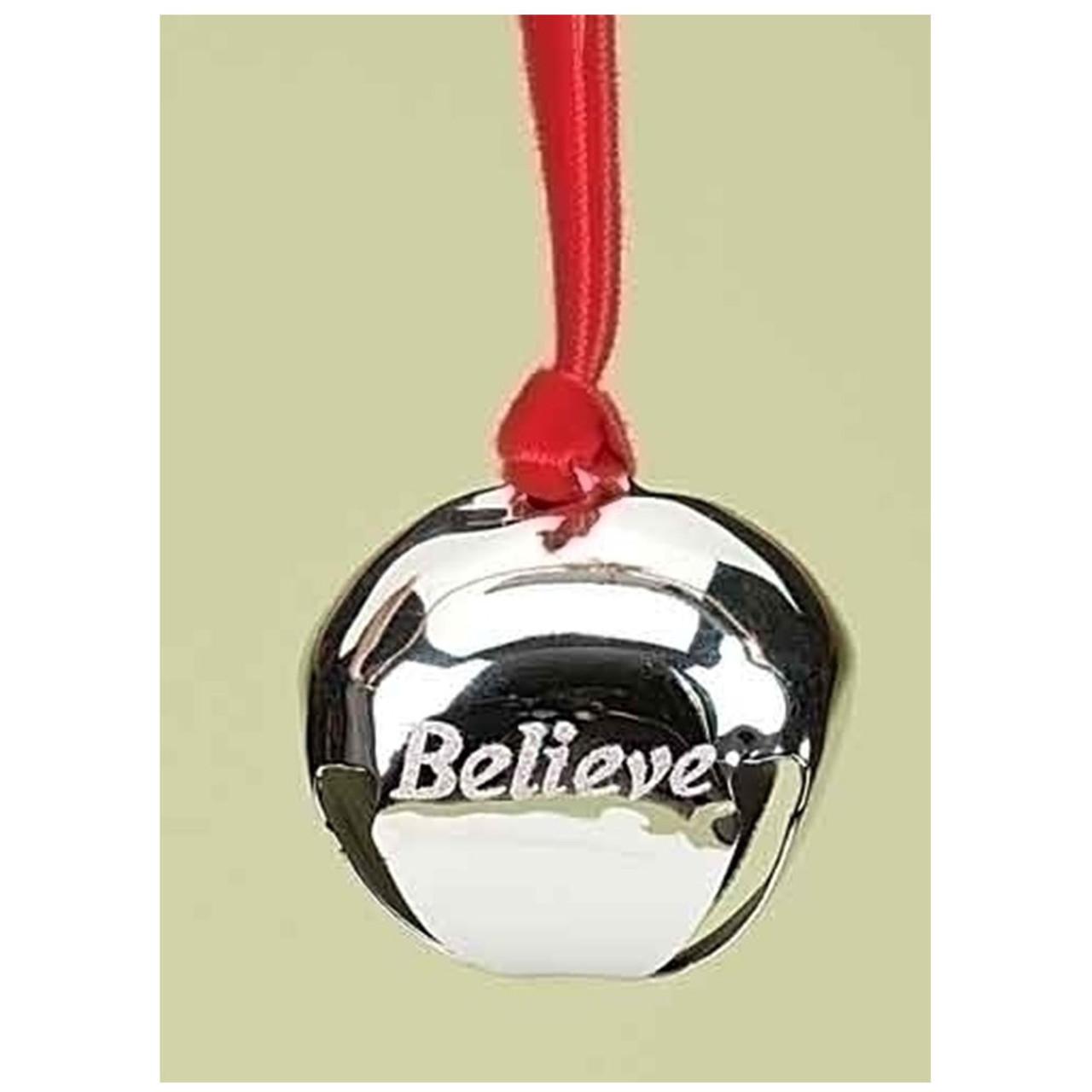 Believe Silver Bell Ornament 2x1.75IN