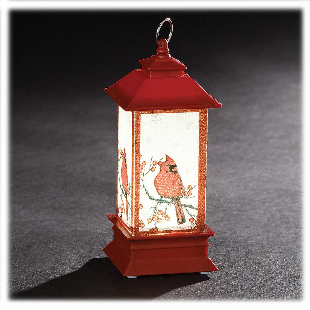 Red Lantern Ornament w/Cardinal