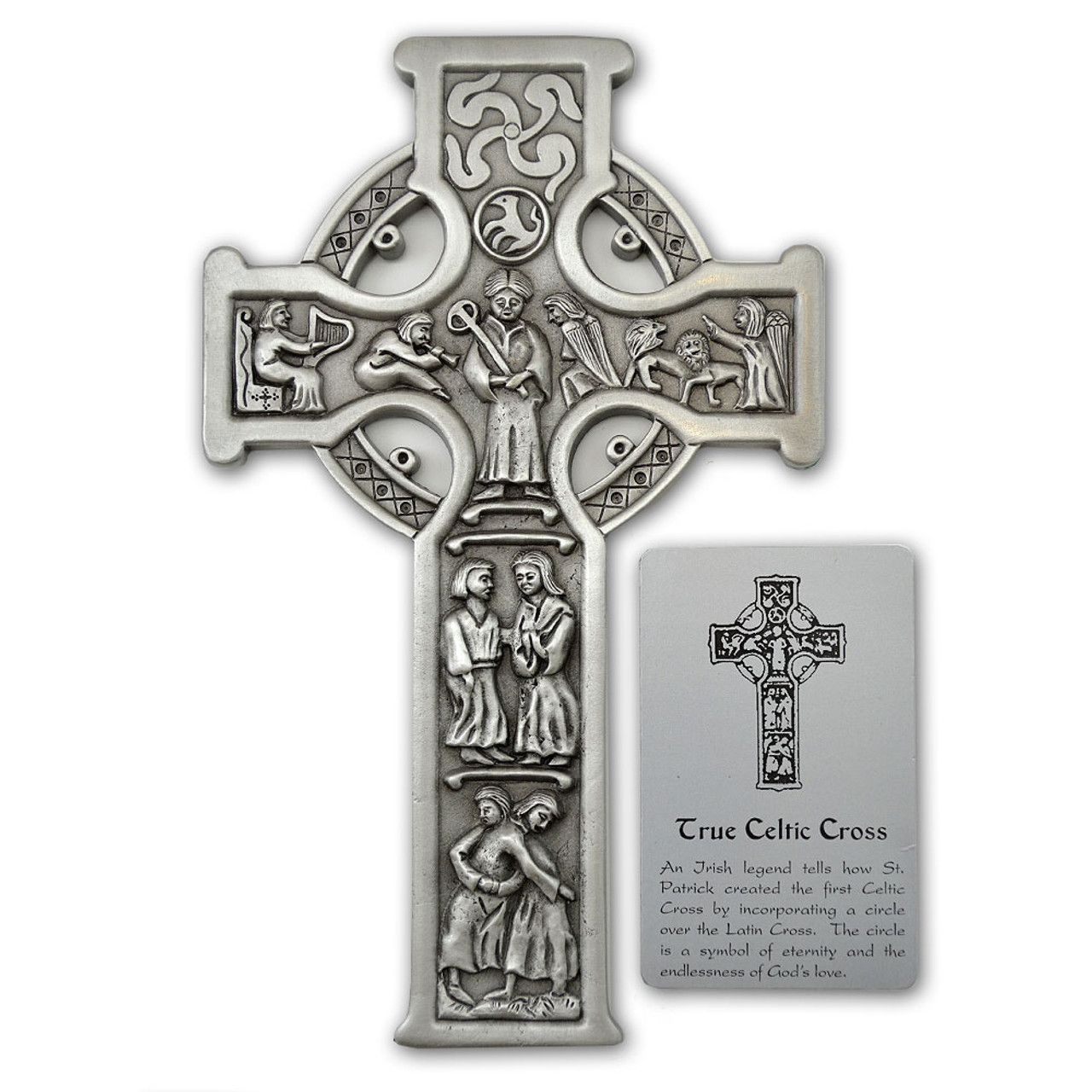 True Celtic Story-Telling Wall Cross Pewter 8""