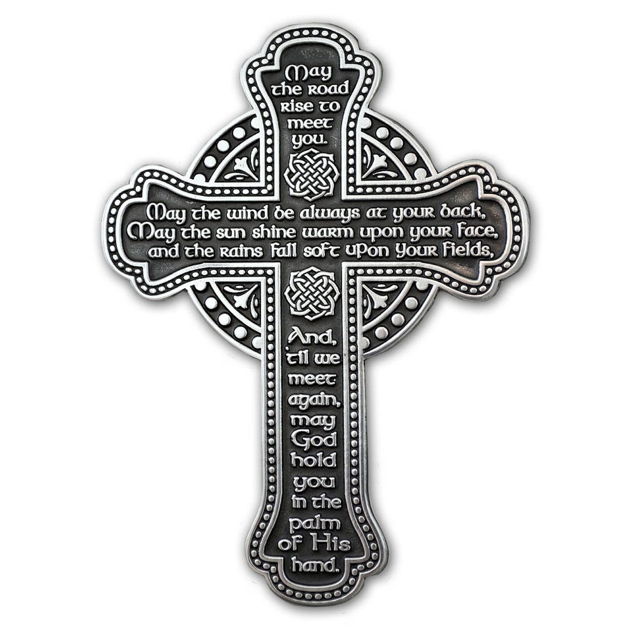 "Irish Blessing Celtic Wall Cross 5.5"" Pewter"