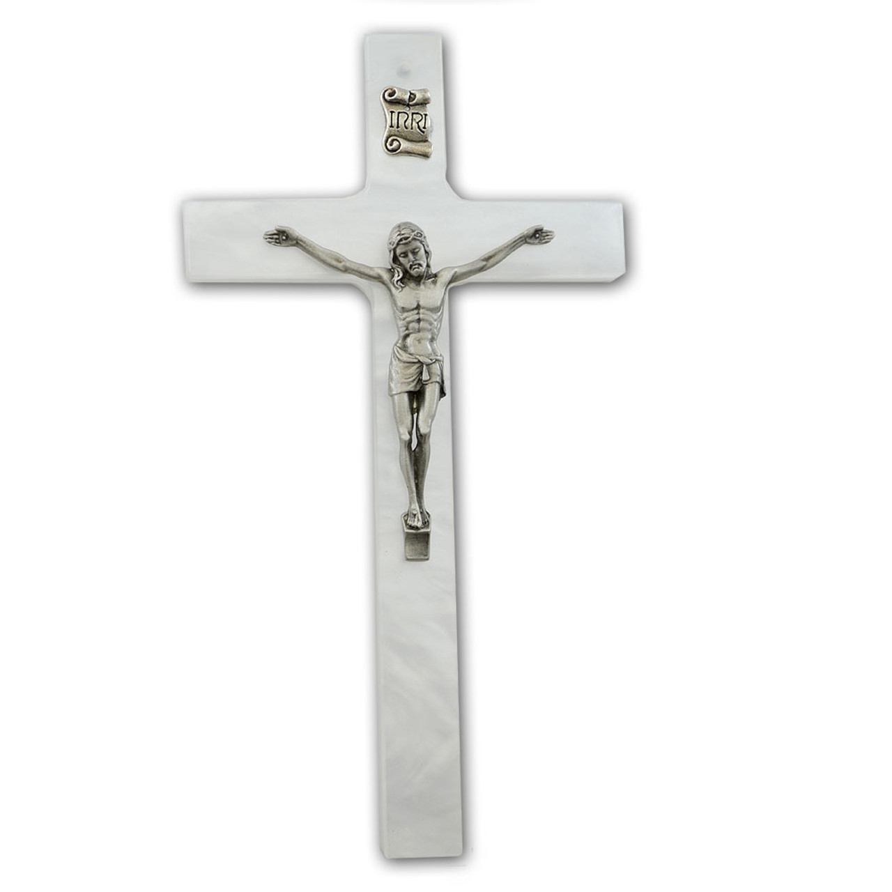 "7"" White Pearl Cross with Silver Corpus"