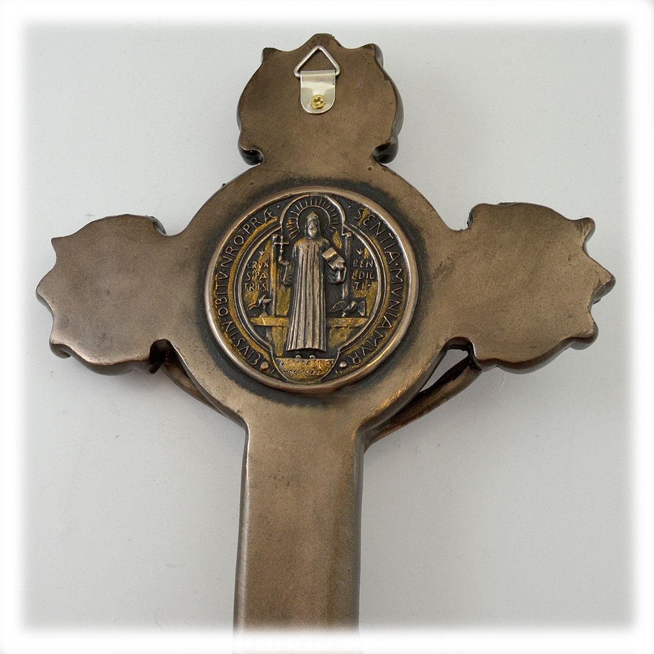 "St Benedict Crucifix 10"" Hand Painted"