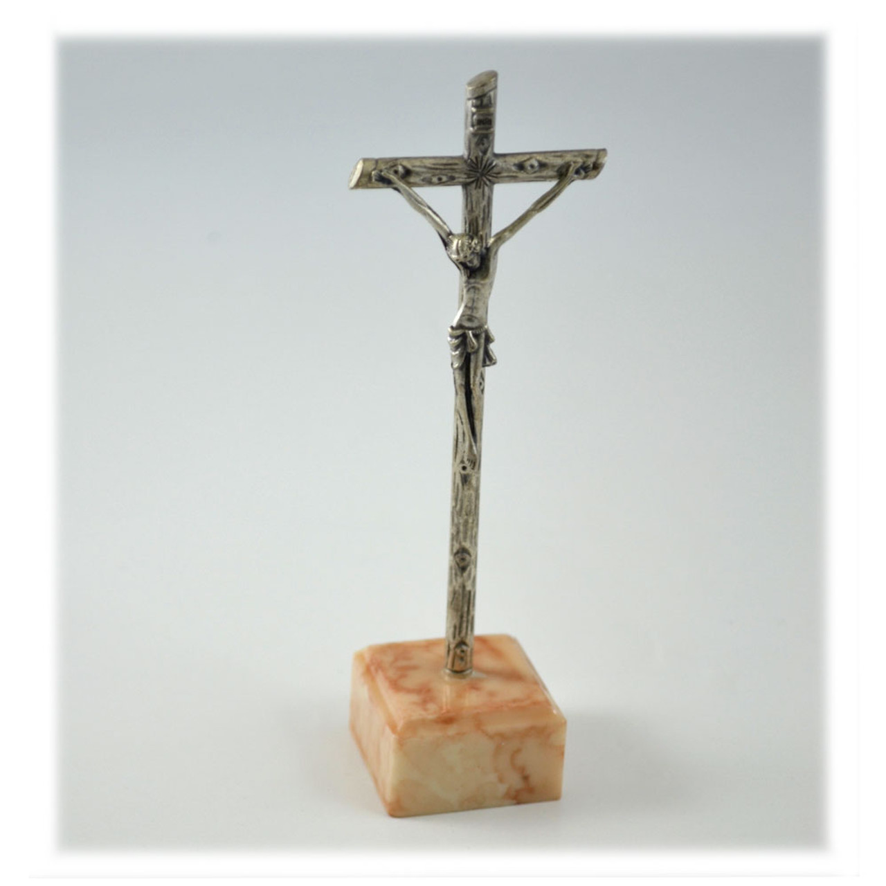 "Inexpensive 4"" Standing Crucifix With Onyx Base"