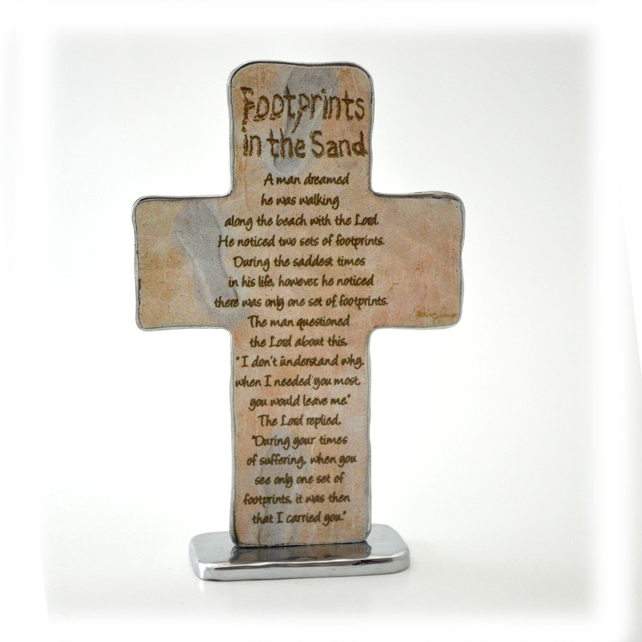 Footprints in the Sand Standing Cross