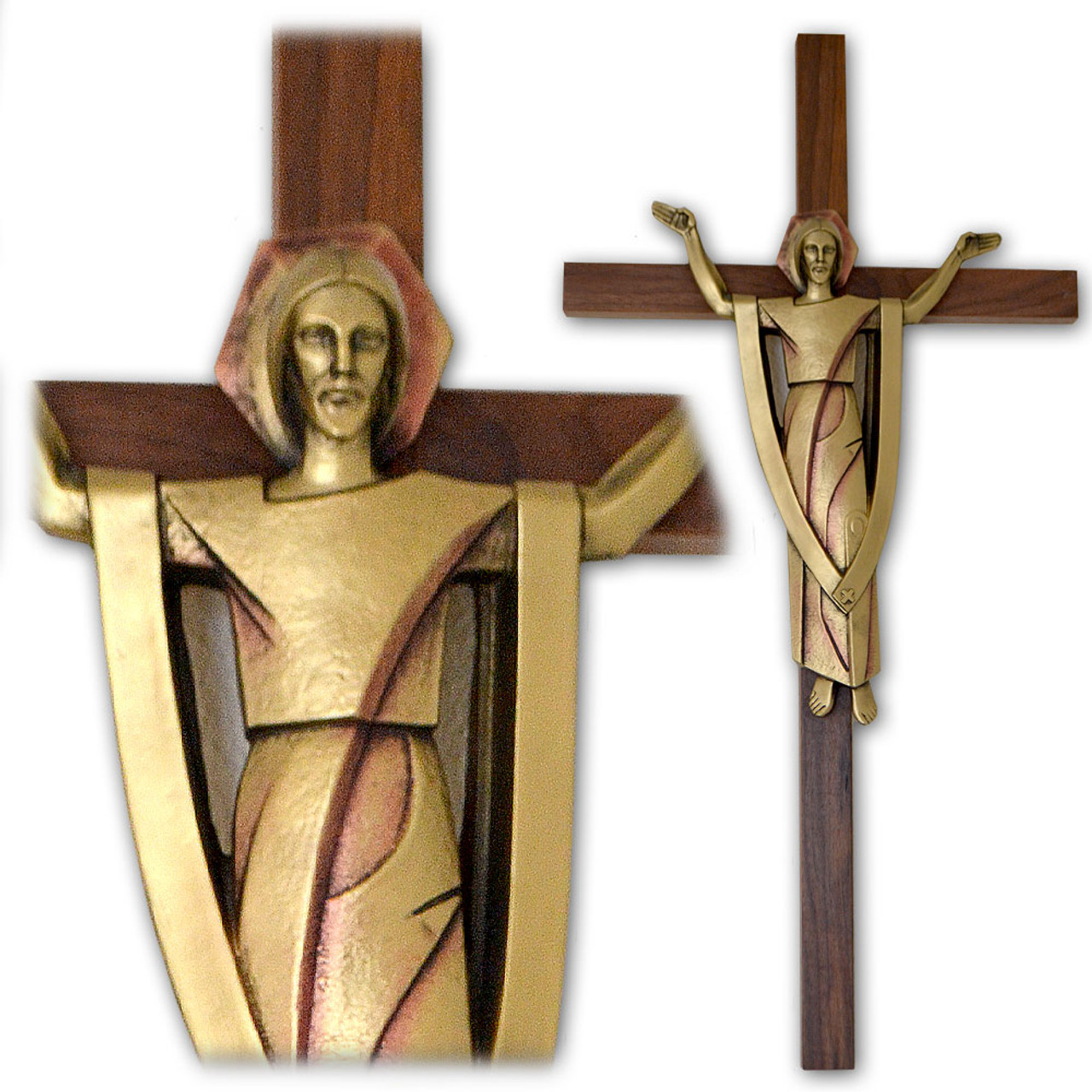 "Large Walnut Risen Christ Wall Cross- 28"""