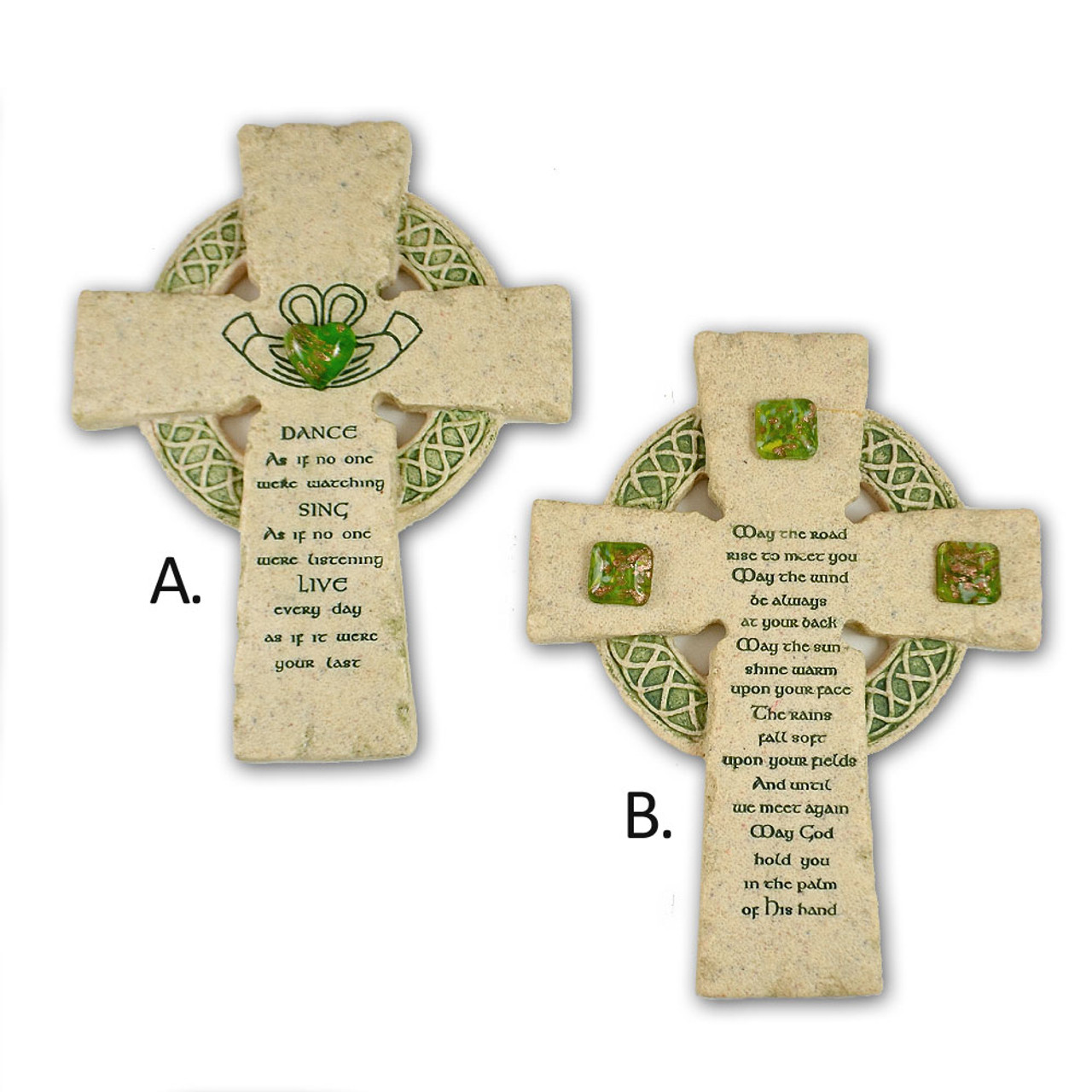 "Irish Resin Stone Celtic Cross 2 Styles 6.5"""