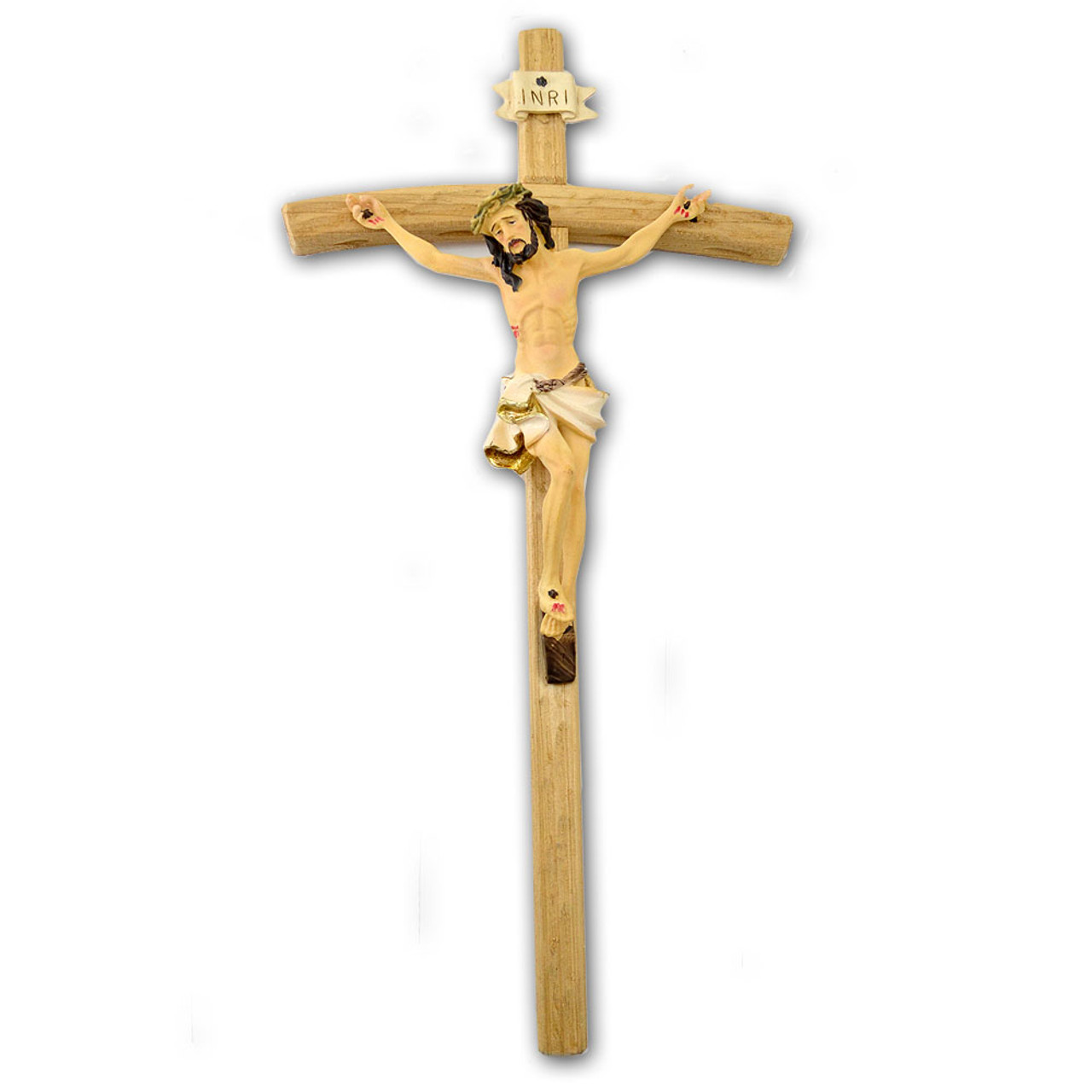 18 Inch Wall Crucifix Hand Painted