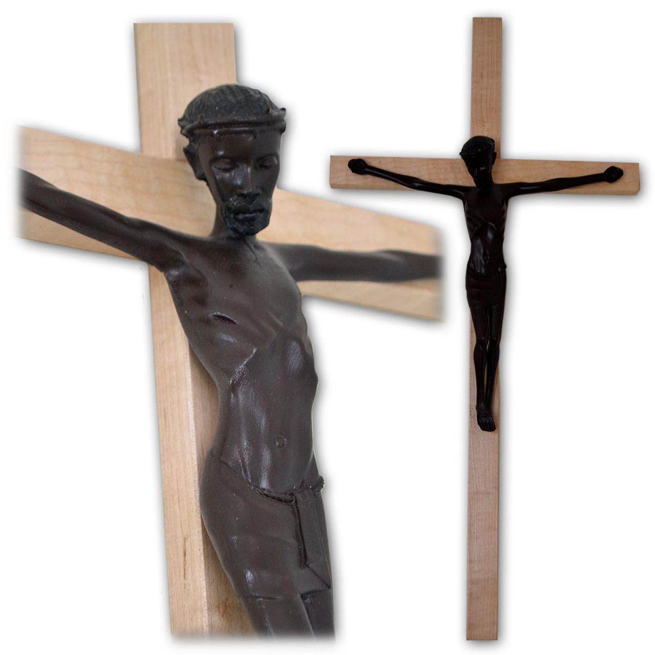 "Large Black Christ on Ash Wood Wall Crucifix- 28"""