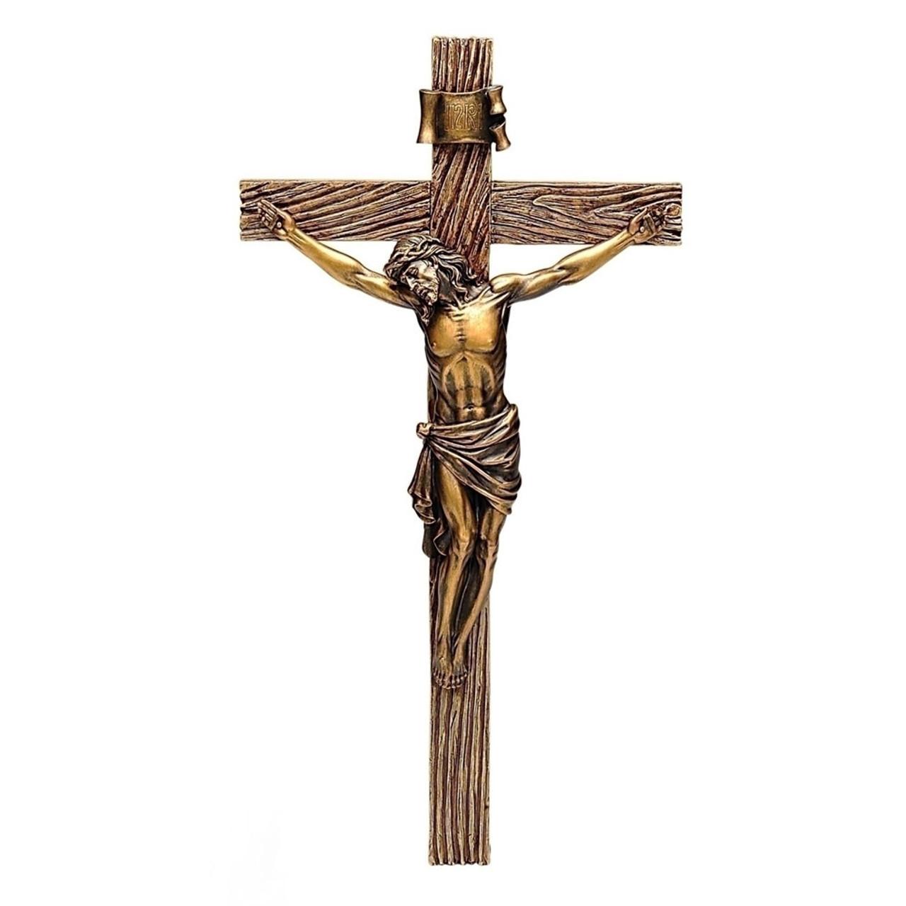 Antique Gold Crucifix 20IN