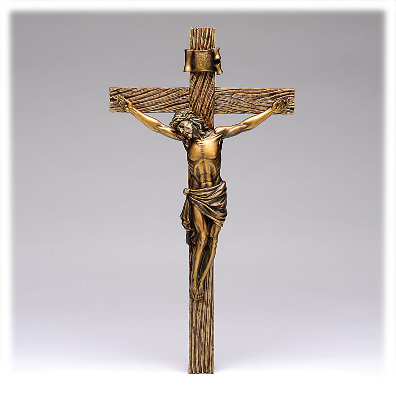 Antique Gold Crucifix 14IN