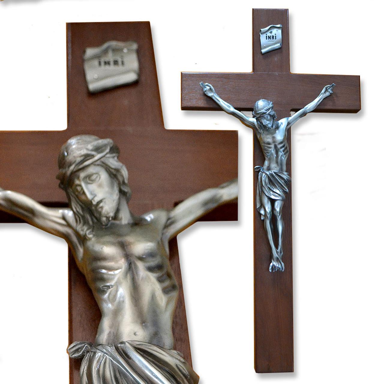 """Walnut Wall Crucifix- 34"""""""