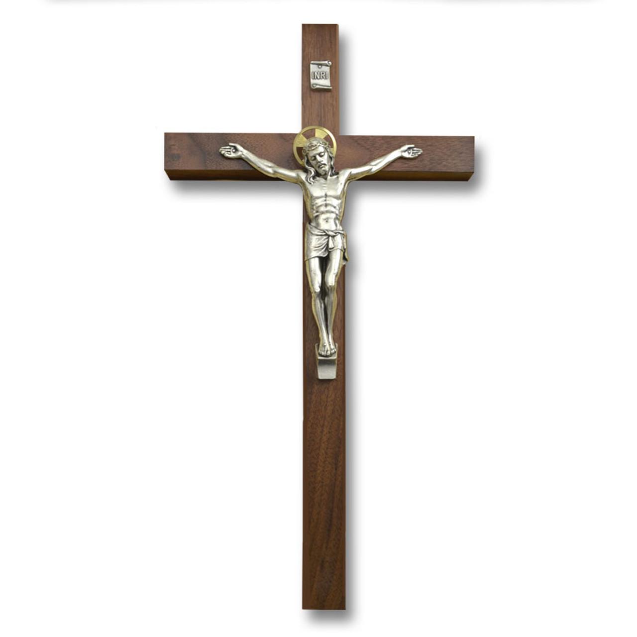 Salerni Walnut Crucifix 12IN