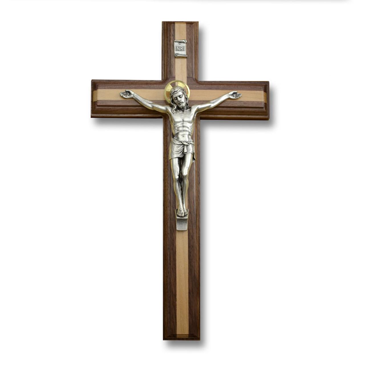 Salerni Walnut/Maple Crucifix 11IN